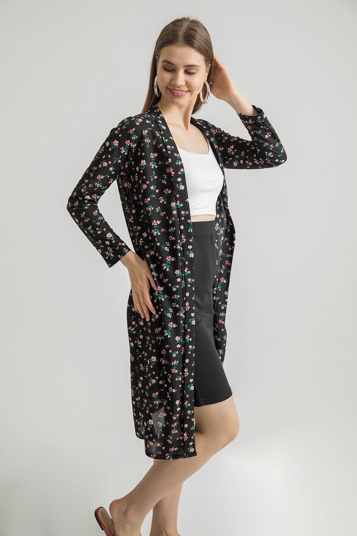 Çiçek Desenli Kemerli Kimono-Siyah