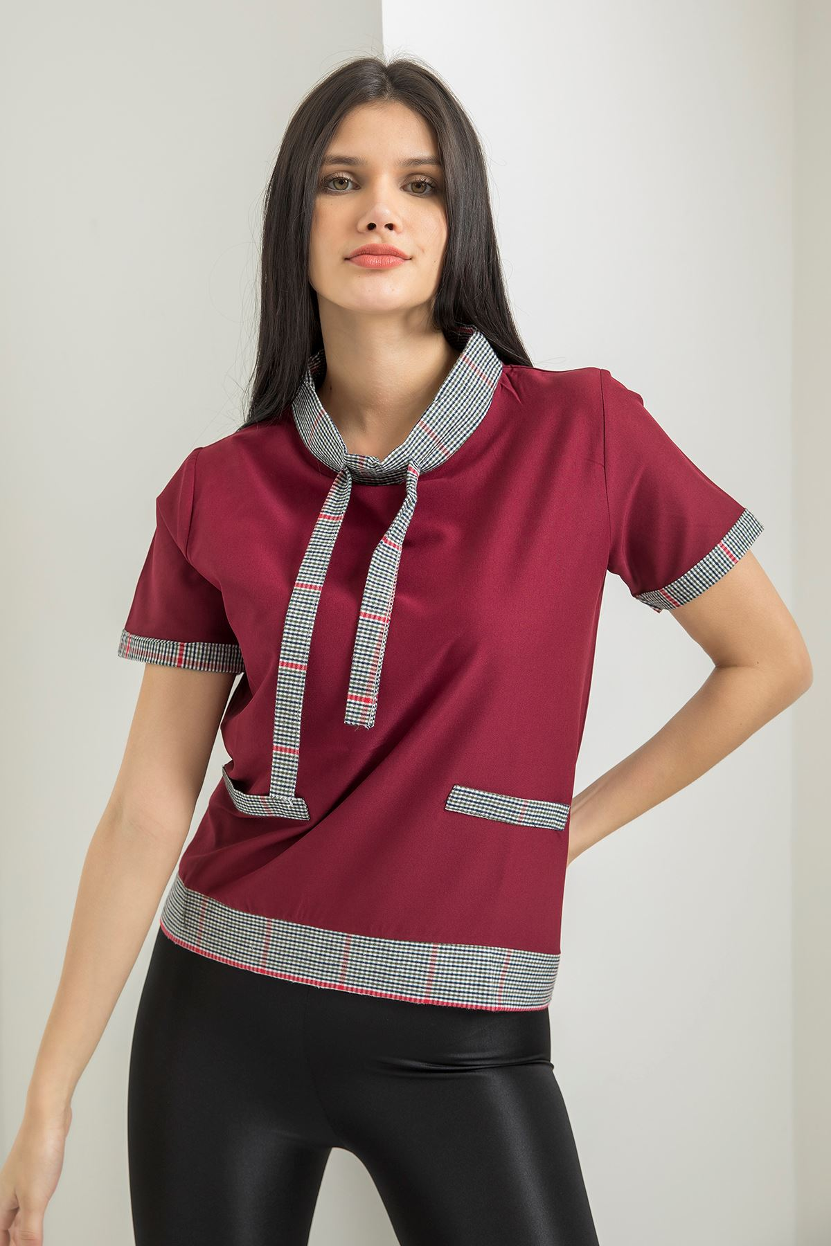 Ekose Detay T-shirt-Bordo
