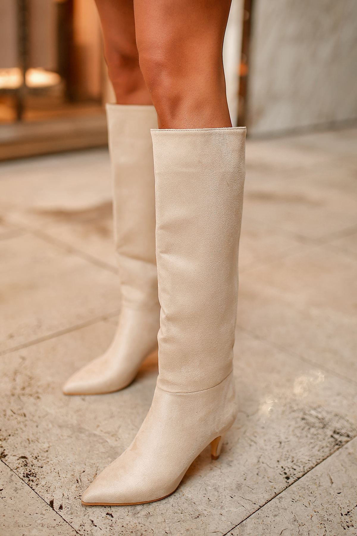 Vanetto Kadın Süet Topuklu Çizme-Ten
