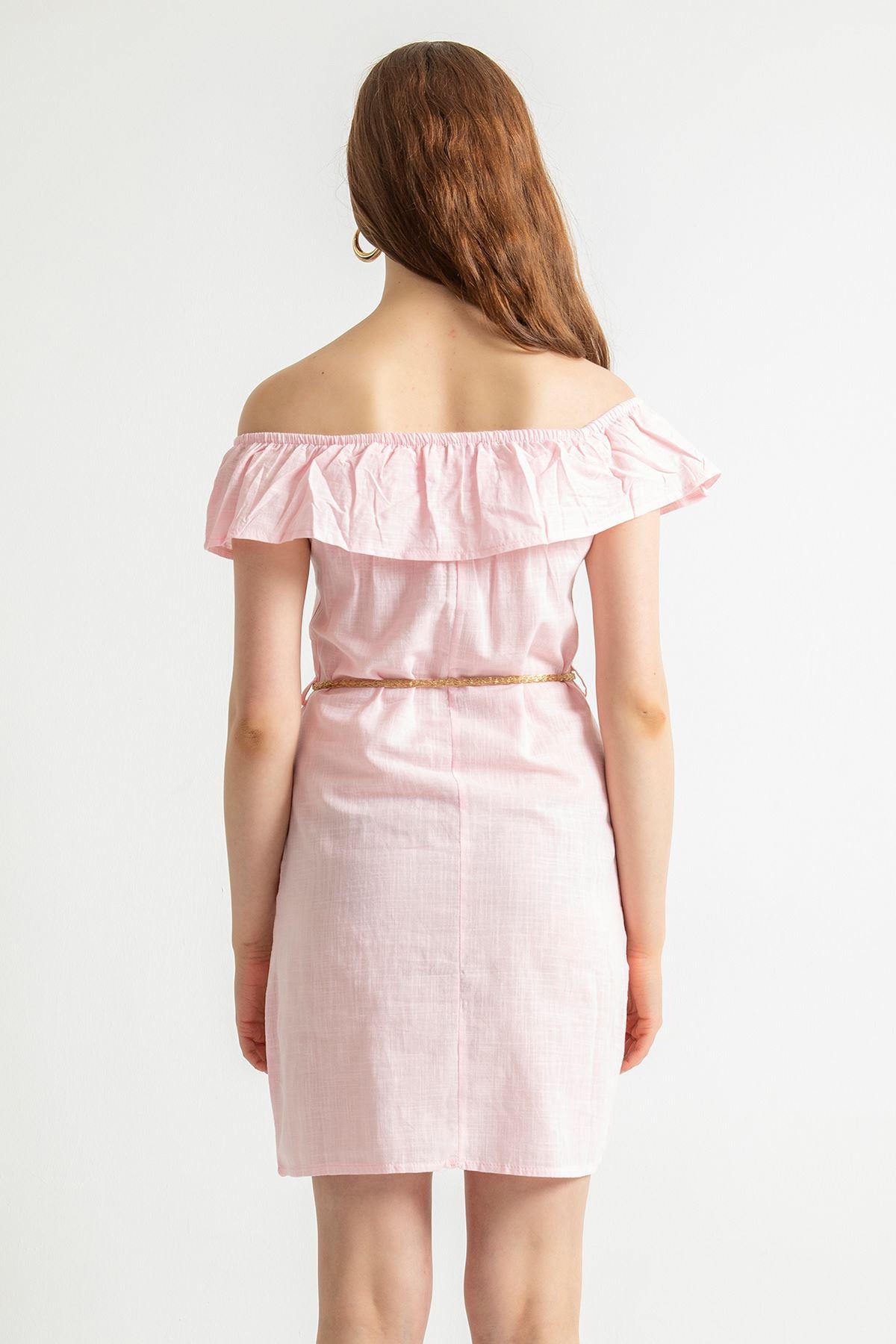 Fırfır Detay Elbise-Pembe