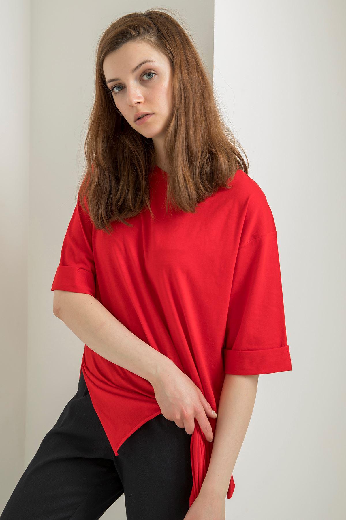 Duble Kol Basic T-Shirt-Kırmızı