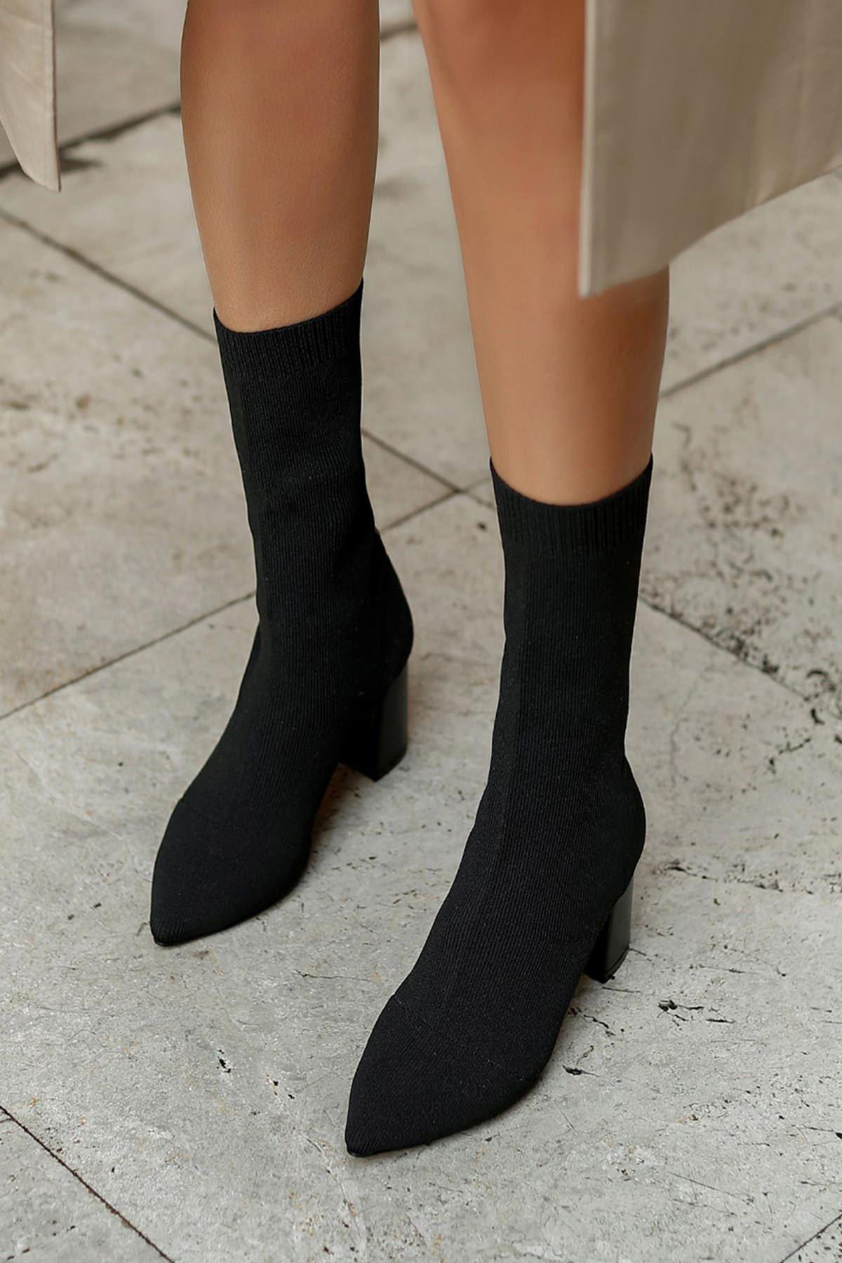 Carleone Kadın Triko Topuklu Bot-Siyah