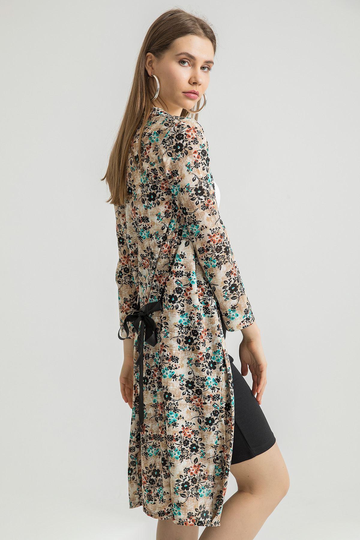 Çiçek Desenli Kimono-Mint