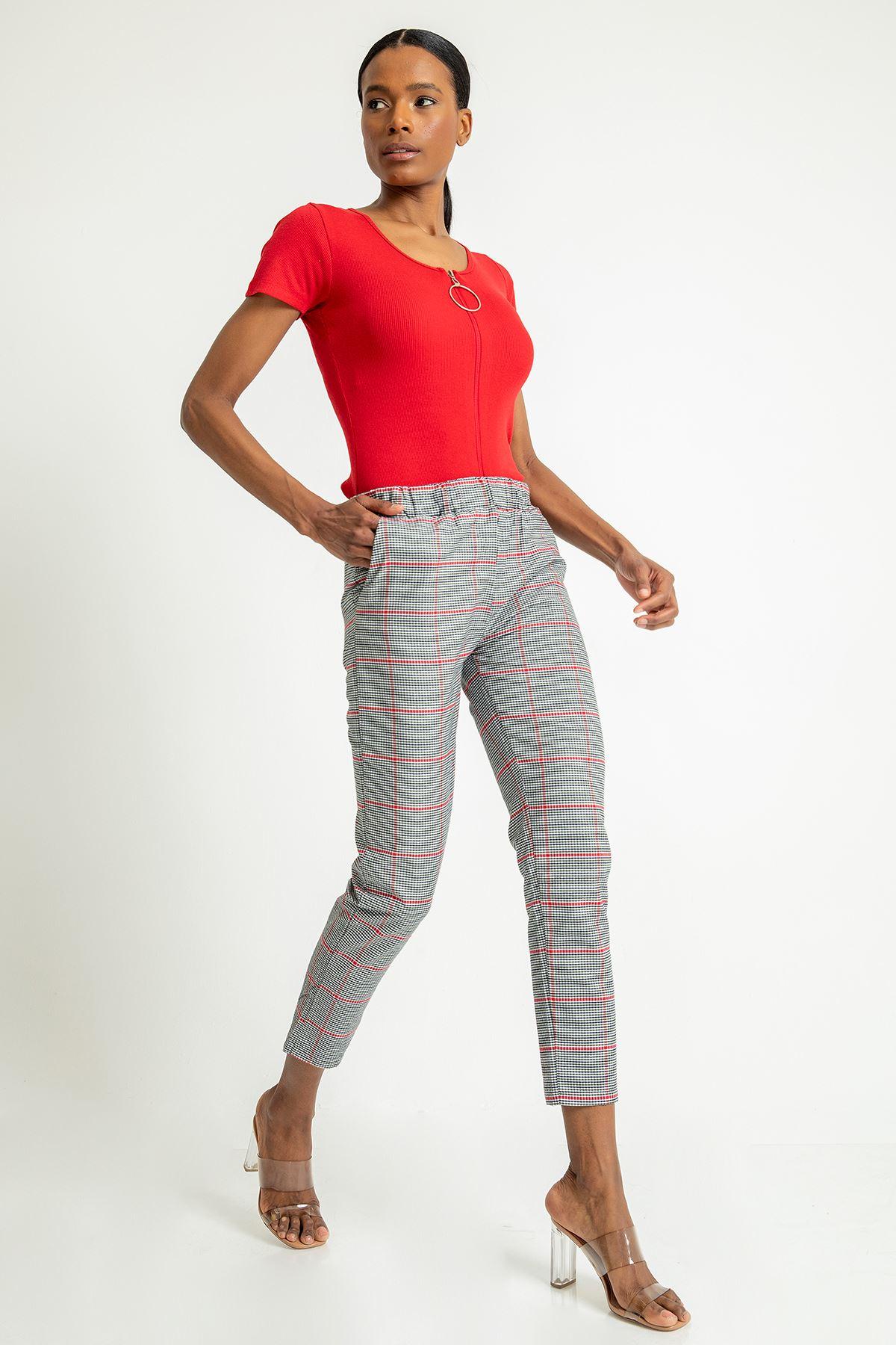 Renkli Ekose Desen Pantolon-Kırmızı