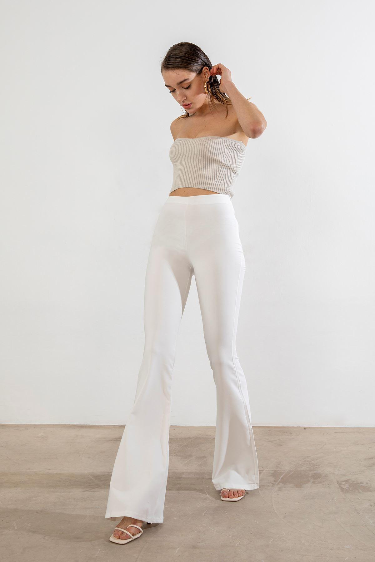İspanyol Paça Pantolon-Beyaz