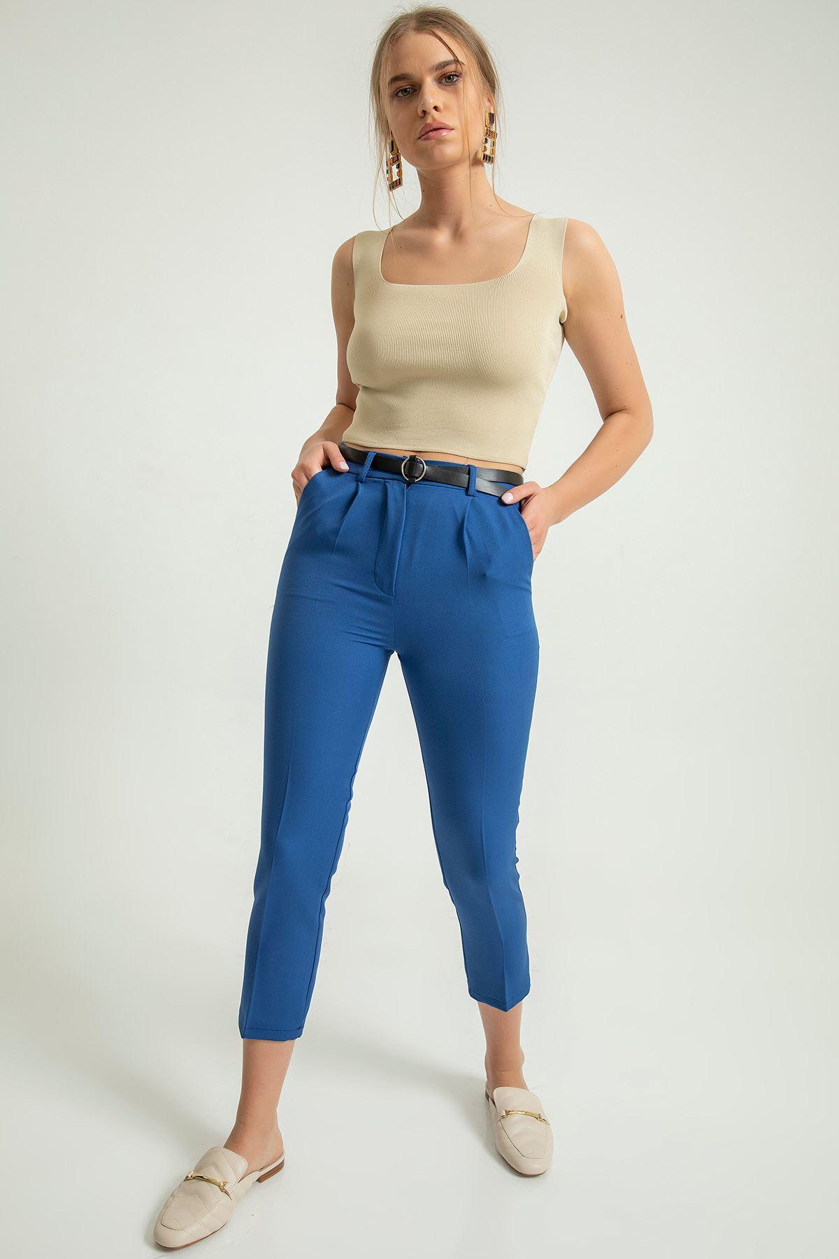 Kemerli Kumaş pantolon-İndigo