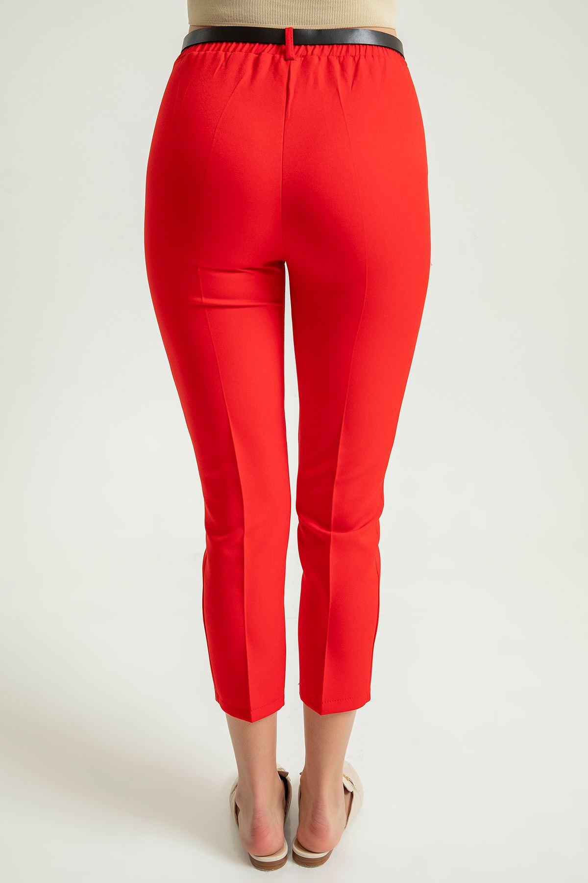 Kemerli Kumaş pantolon-Kırmızı