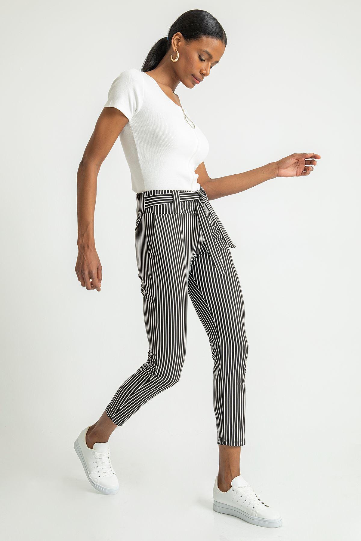 Kuşaklı Çizgili Pantolon-Siyah