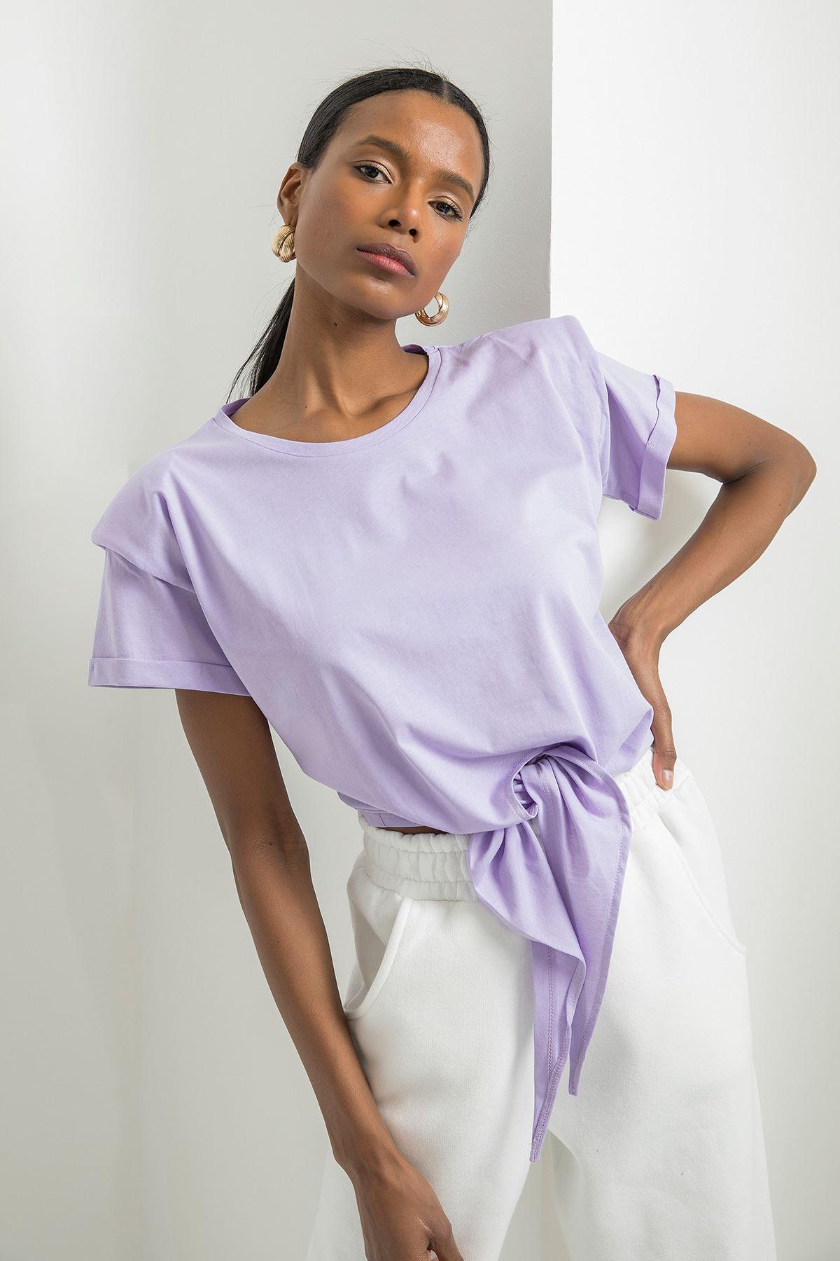 Vatkalı Kısa Kol T-shirt-Lila
