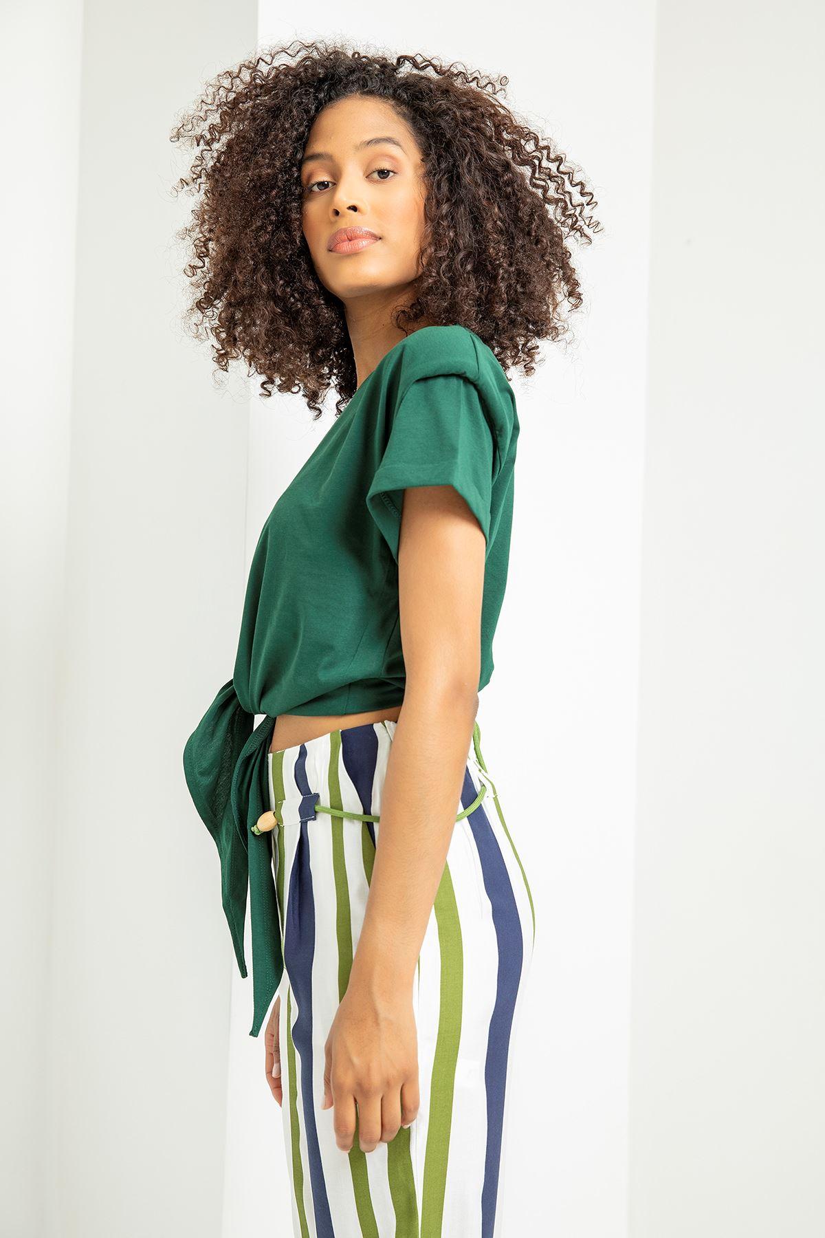 Vatkalı Kısa Kol T-shirt-Yeşil