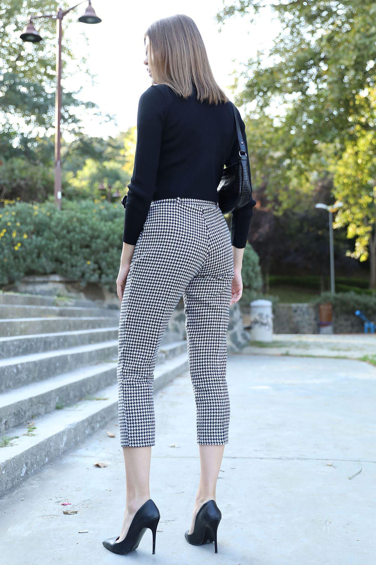Kazayağı Desen Kaşe Pantolon-Siyah
