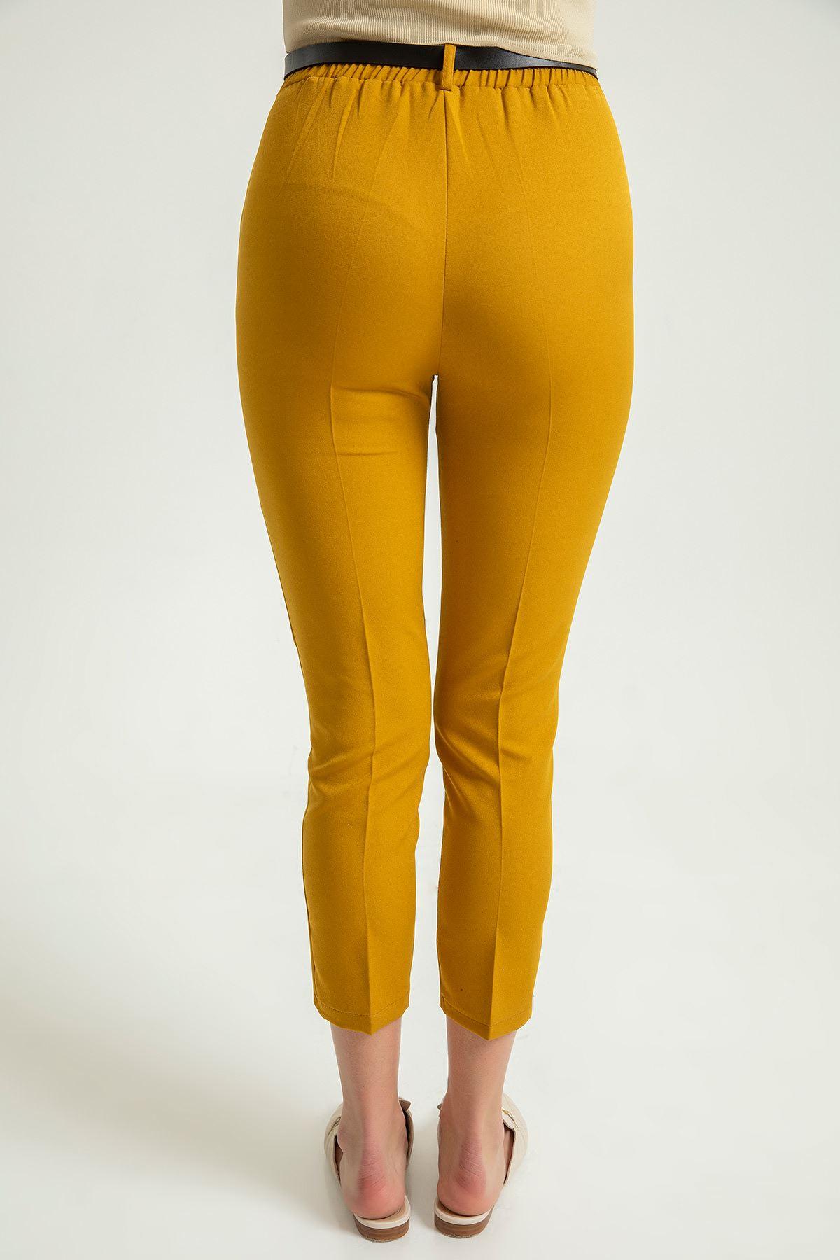 Kemerli Kumaş pantolon-Hardal
