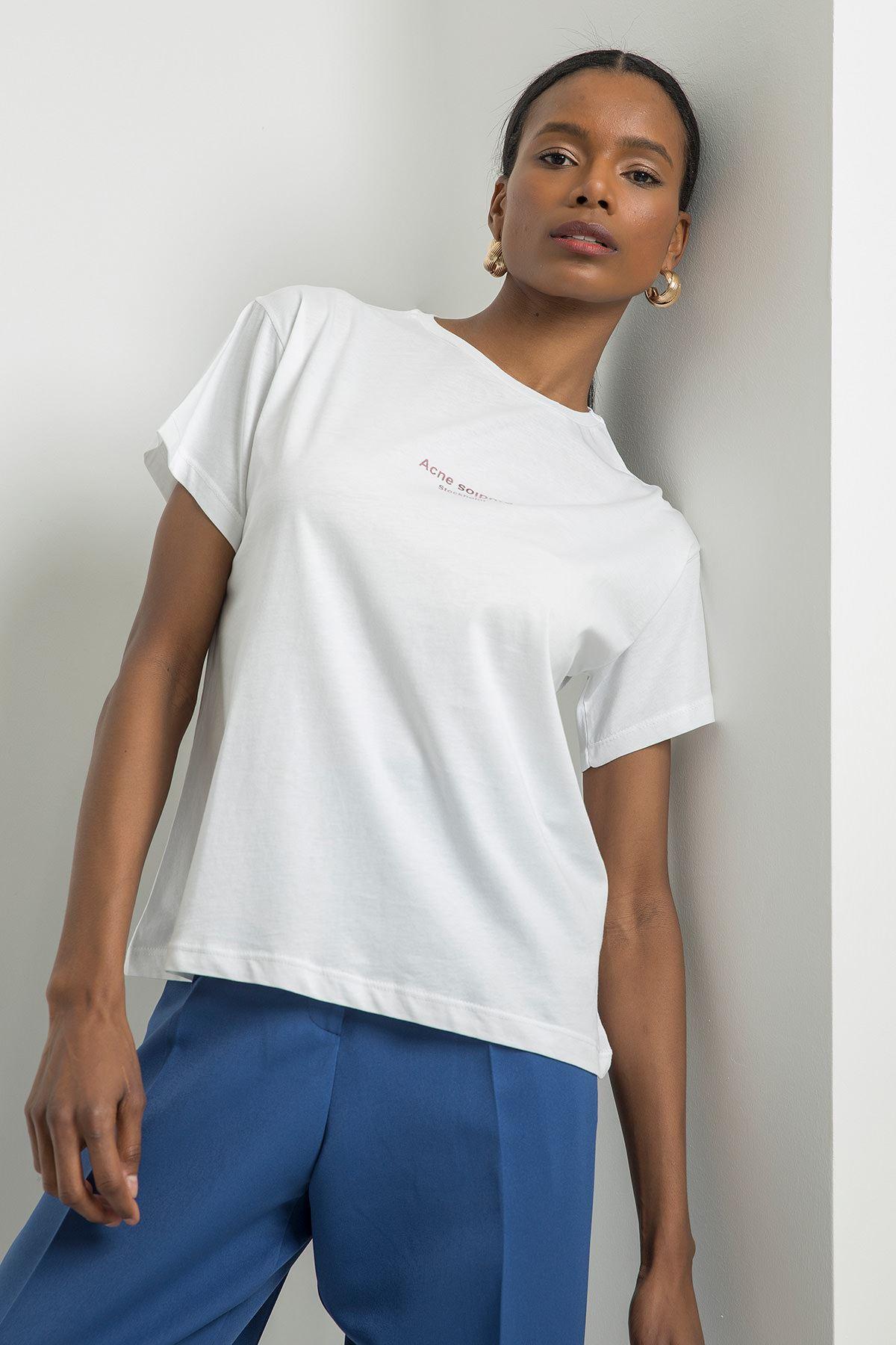 Stockholm Baskılı T-shirt-Beyaz