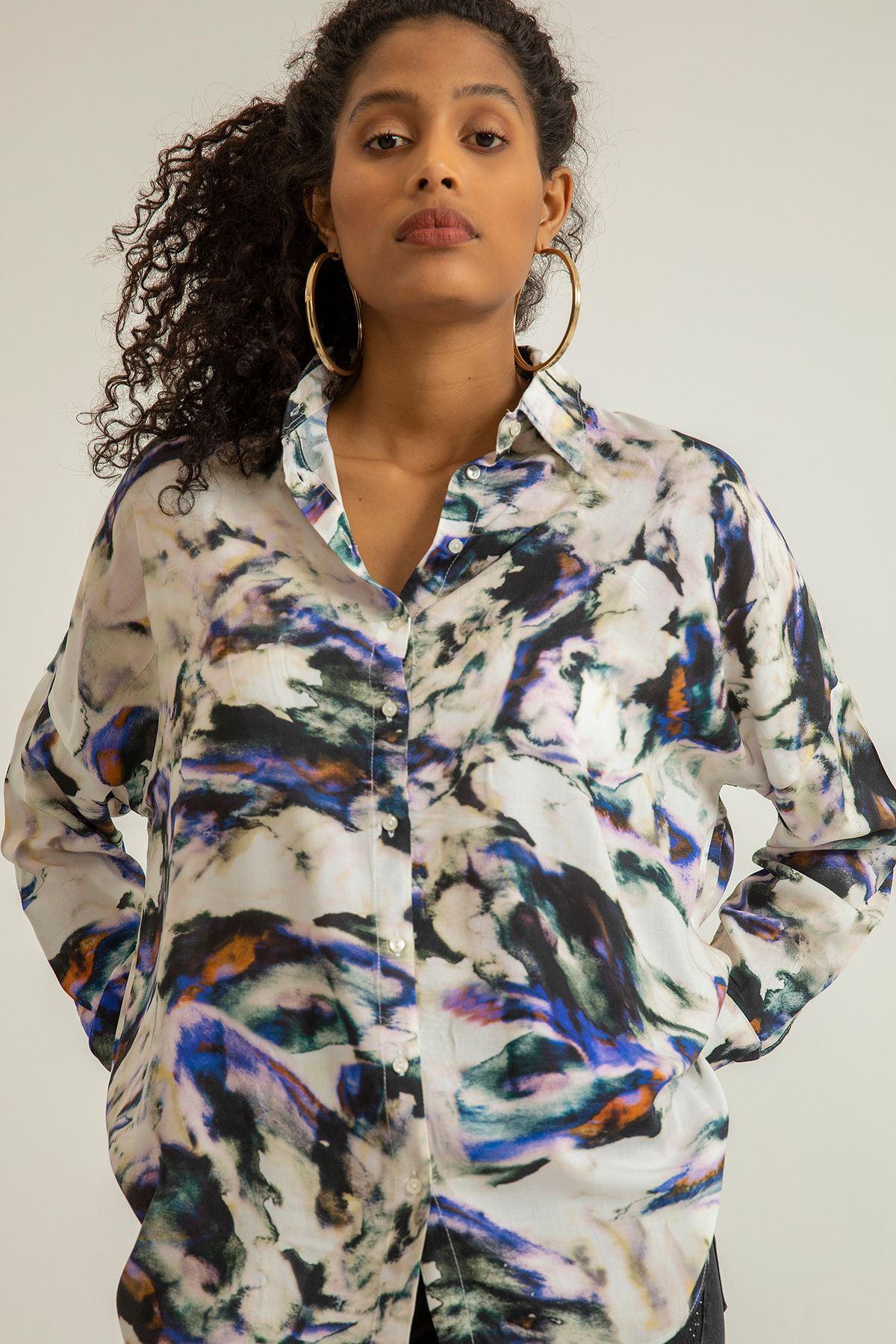 Batik Desen Salaş Gömlek-Ekru