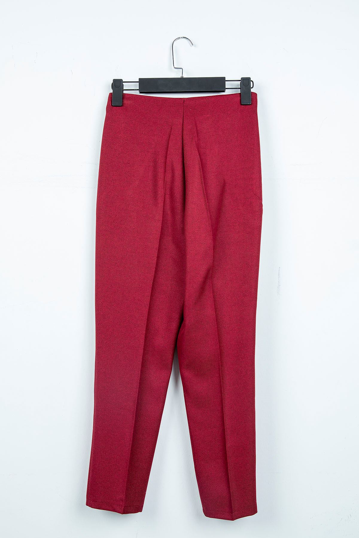 Yüksek Bel Cep Detay Pantolon-Bordo