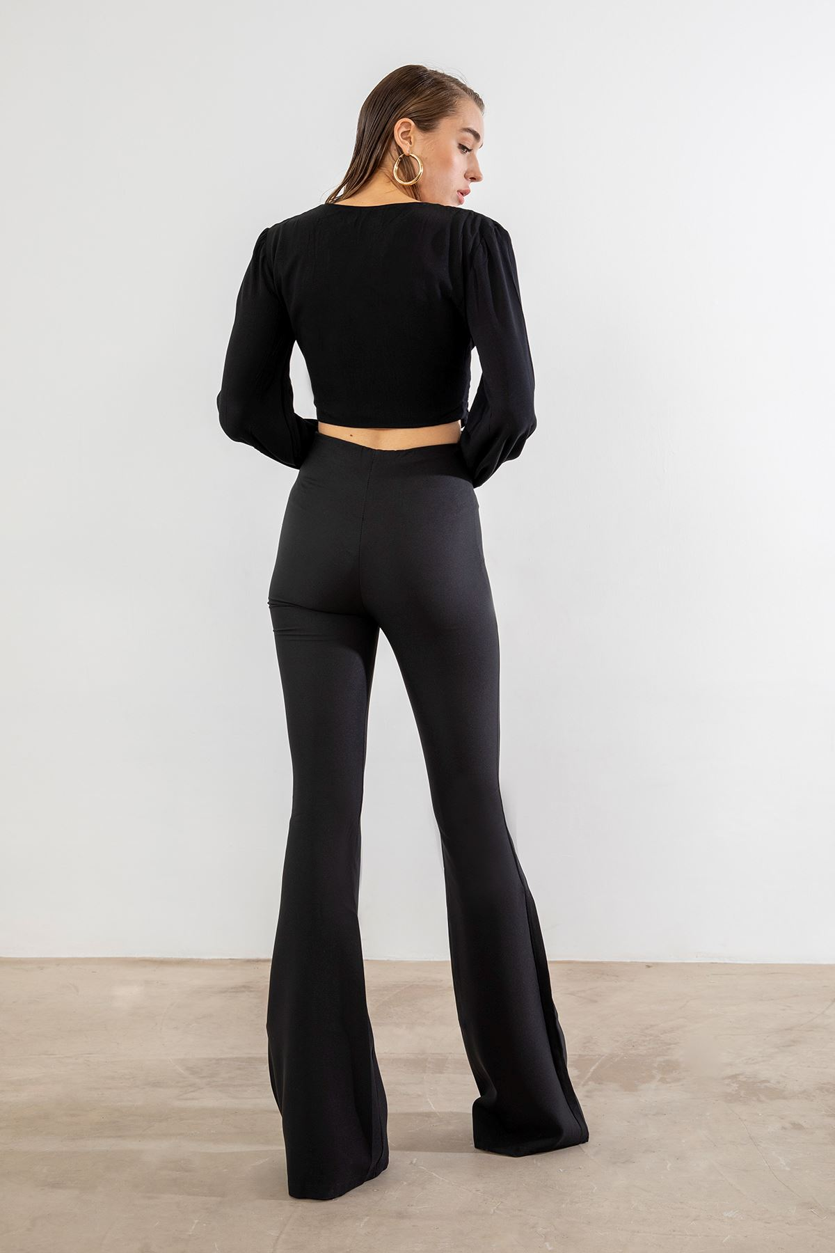 İspanyol Paça Pantolon-Siyah