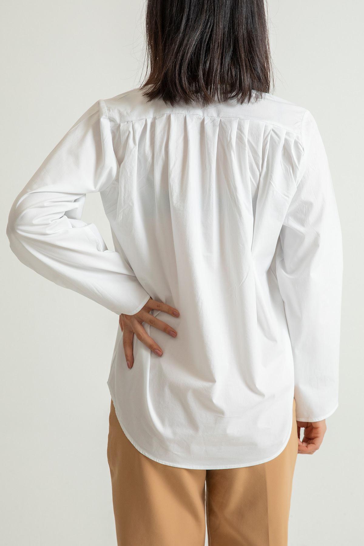 Düğmeli V Yaka Gömlek-Beyaz