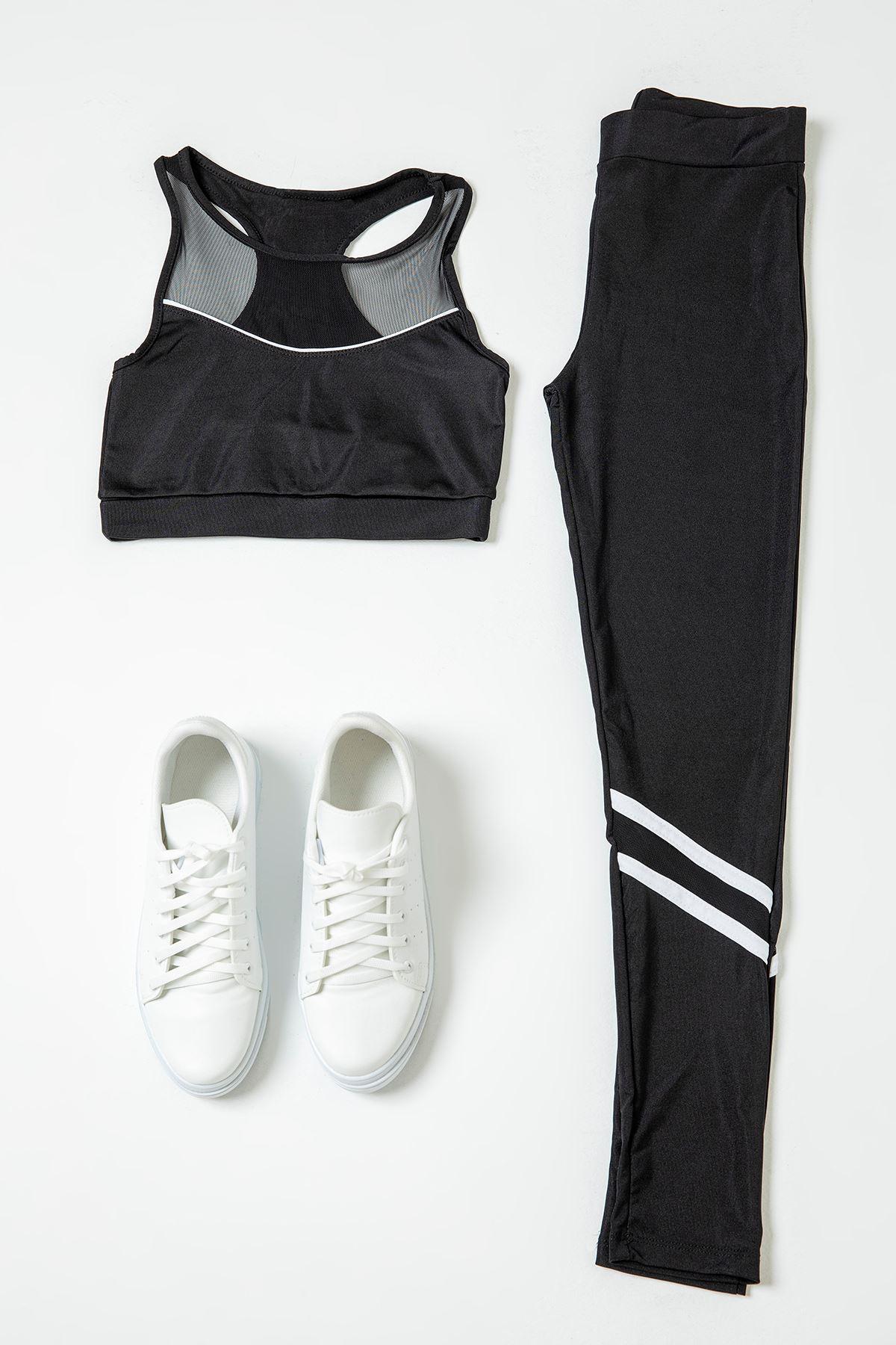 Sporcu Şeritli Takım-Siyah