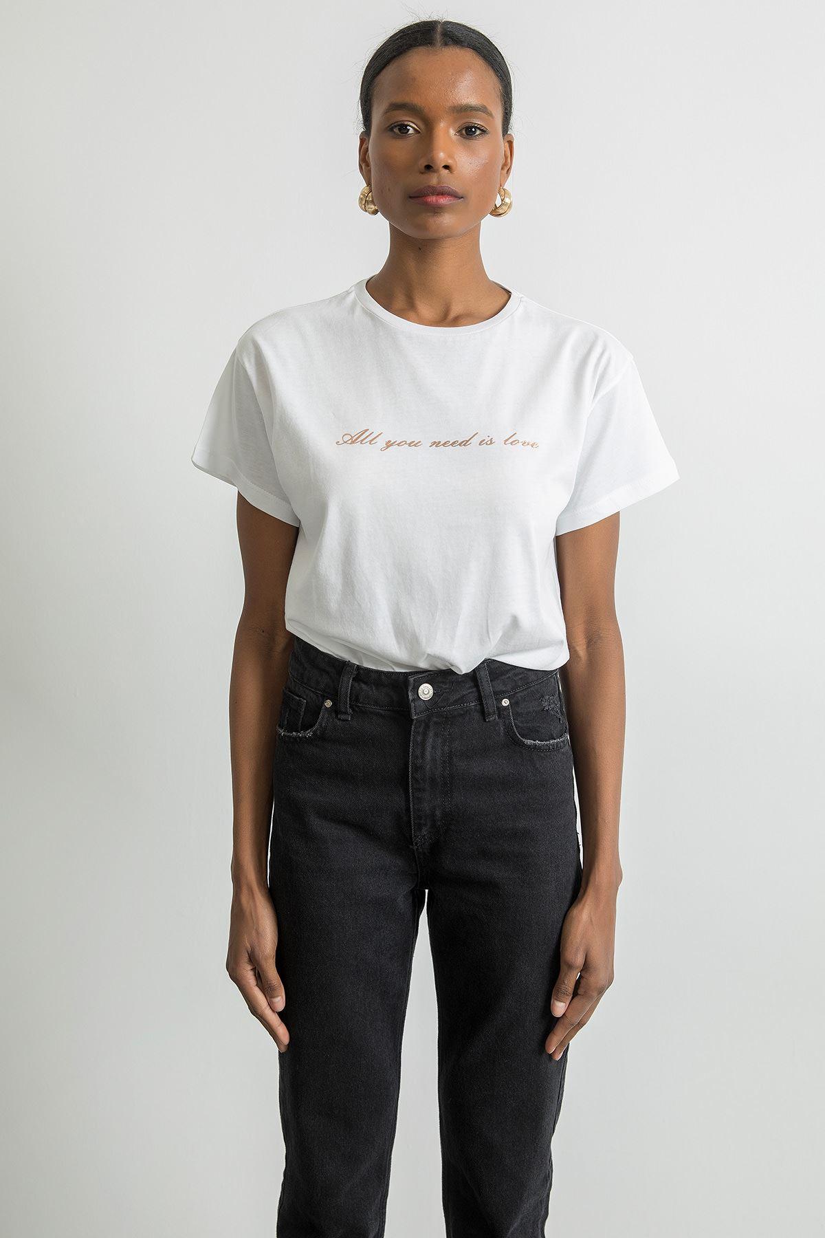 Baskılı Kısa Kol T-shirt-Beyaz