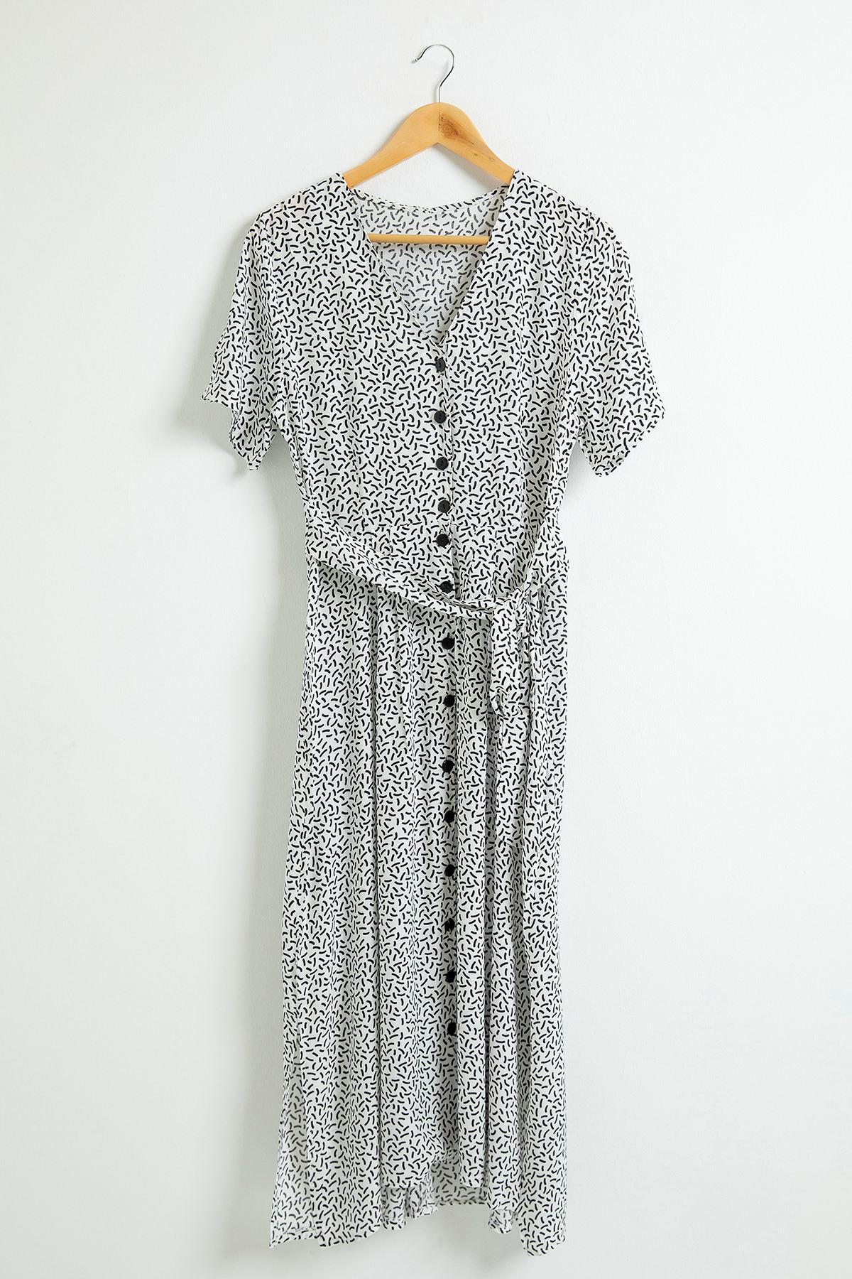 Önü Düğmeli Beli Bağlamalı Elbise-Beyaz