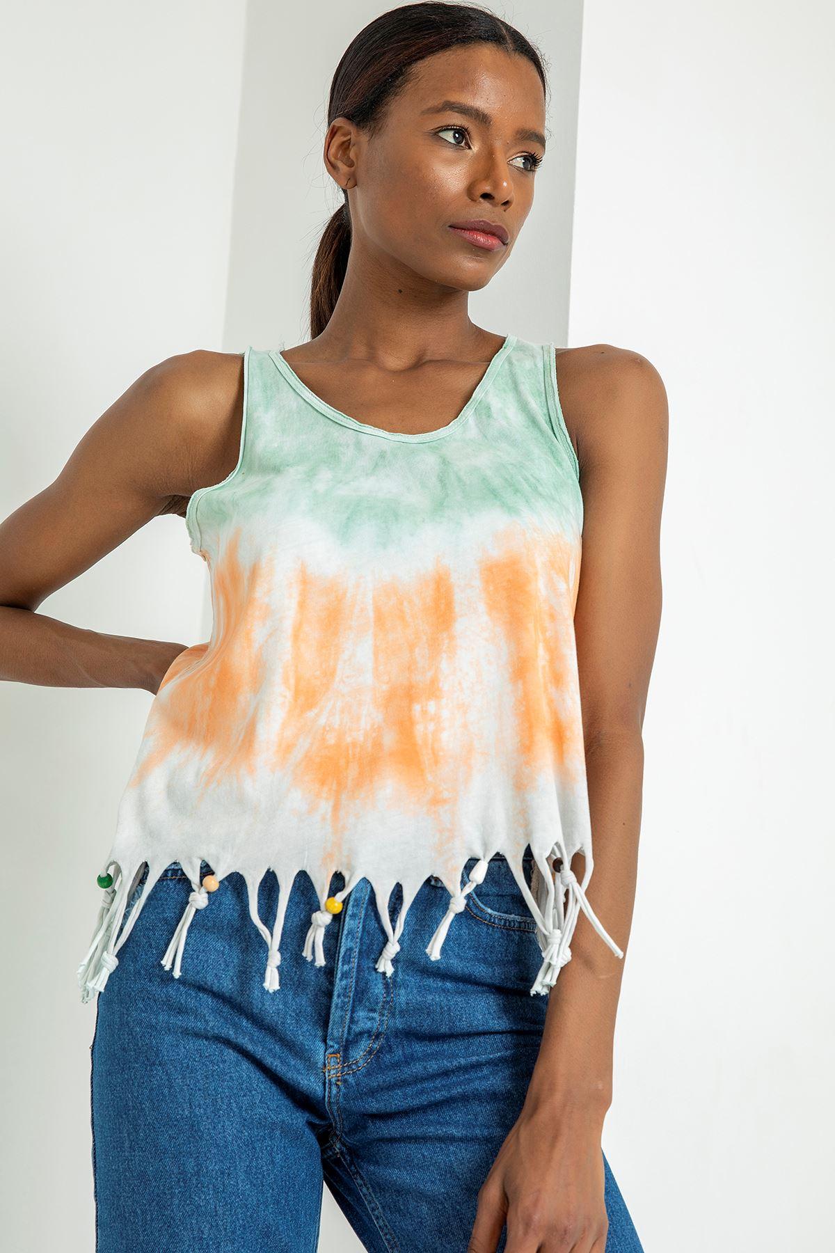 Sırt Detay Eteği Püsküllü T-shirt-Mint