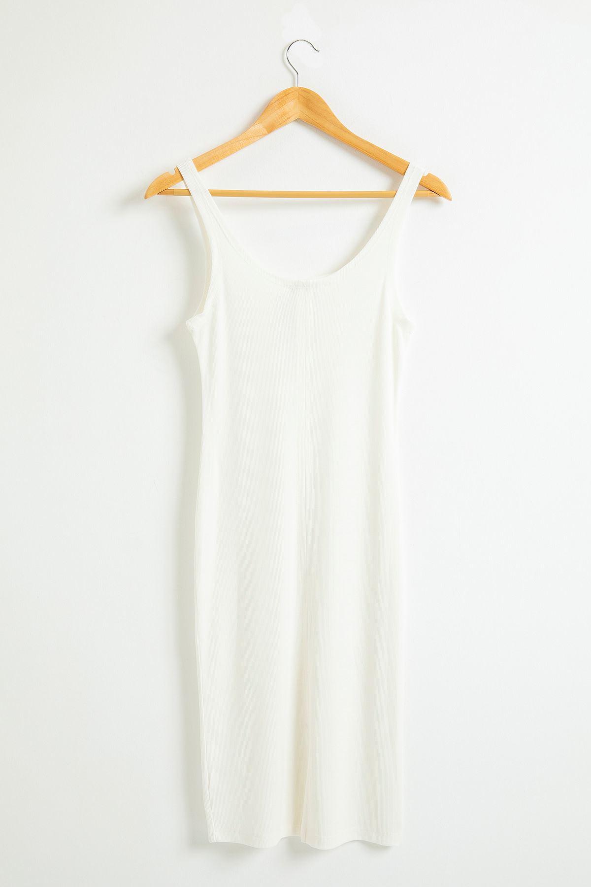 Slimfit Askılı Kaşkorse Elbise-Ekru