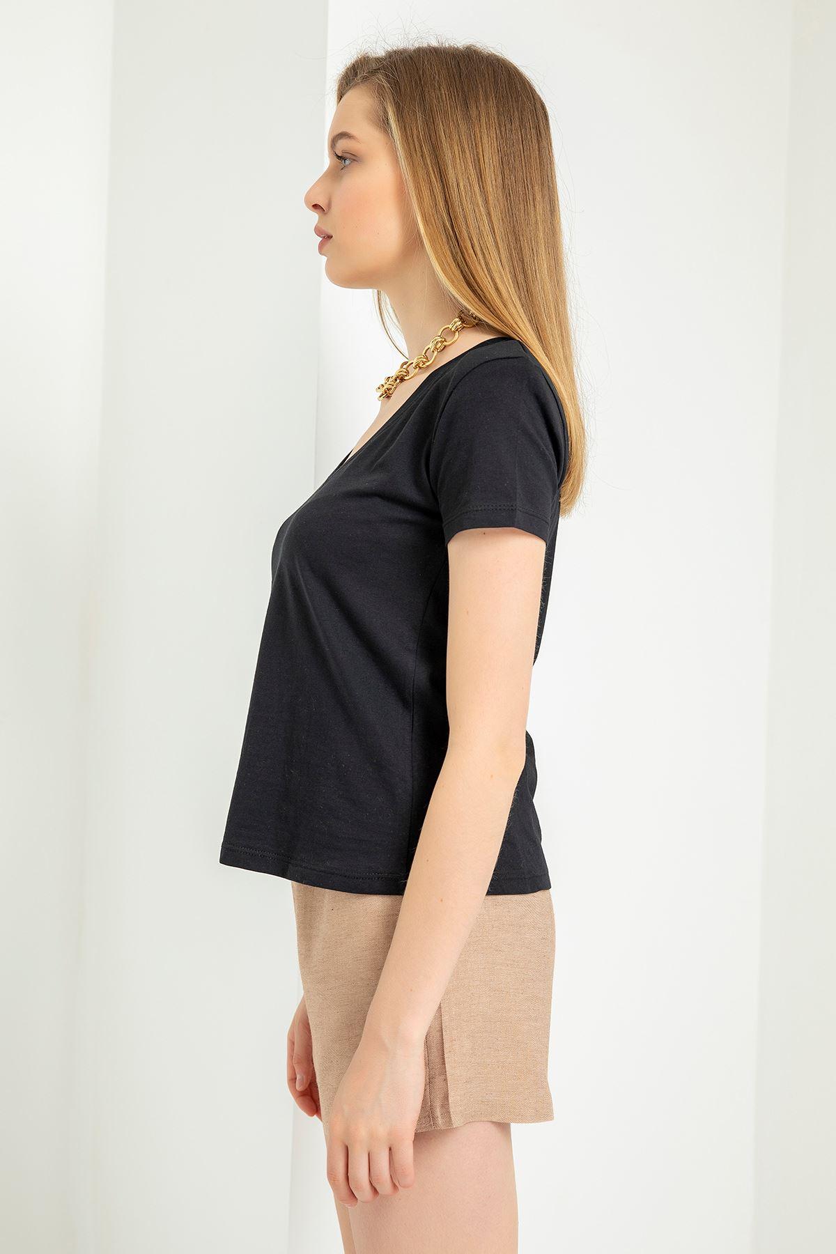 V Yaka Vatkalı T-Shirt-Siyah