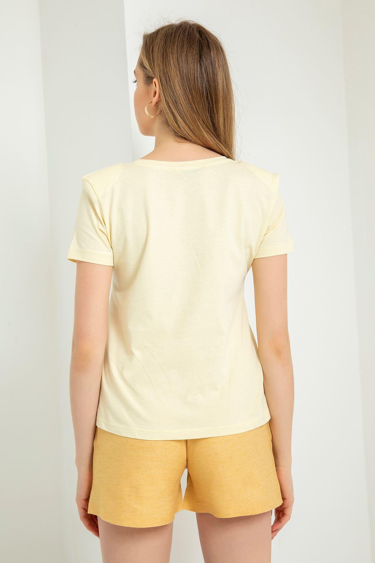 V Yaka Vatkalı T-Shirt-Sarı