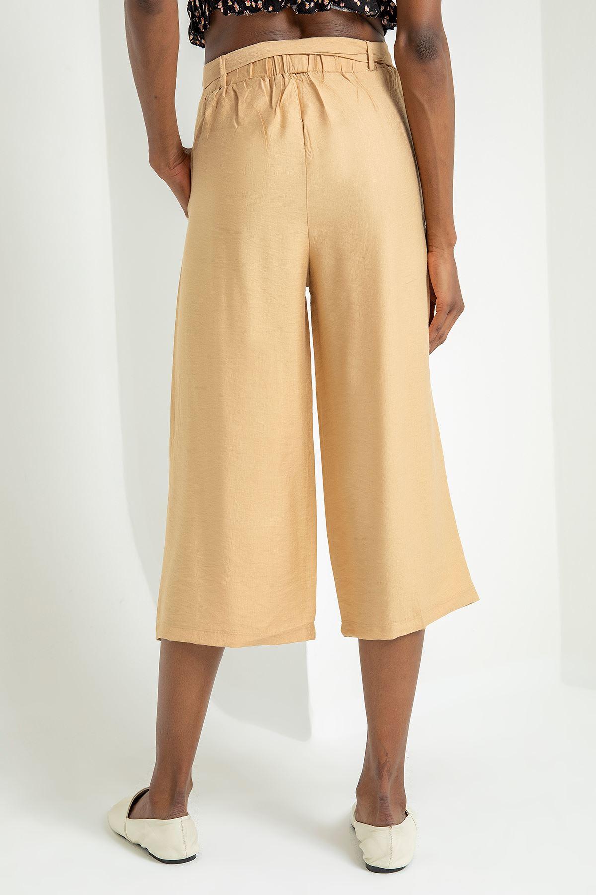 Salaş Kemerli Pantolon-Bej