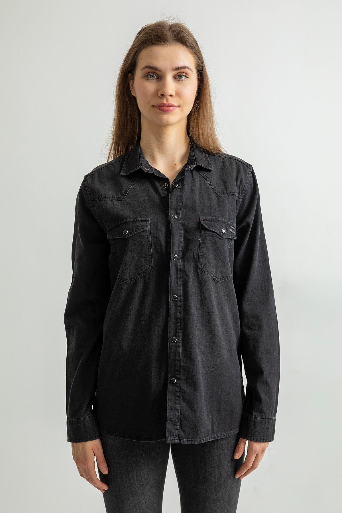 İki Cep Düğmeli Kot Gömlek-Siyah