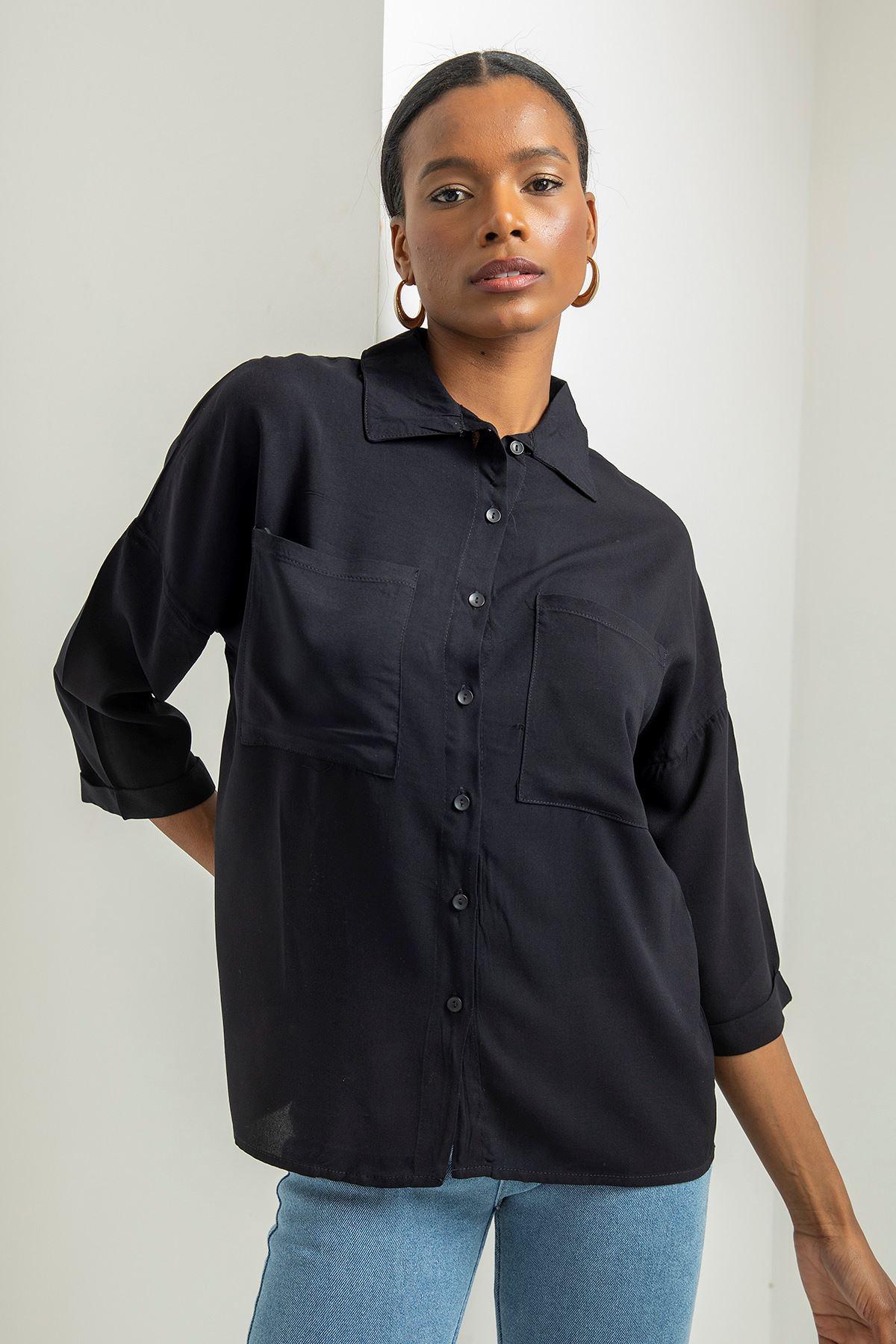 Çift Cep İnce Gömlek-Siyah