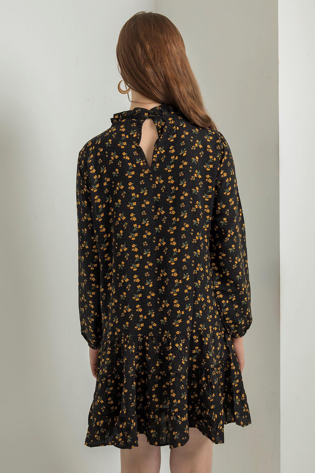 Fırfır Detay Elbise-Siyah