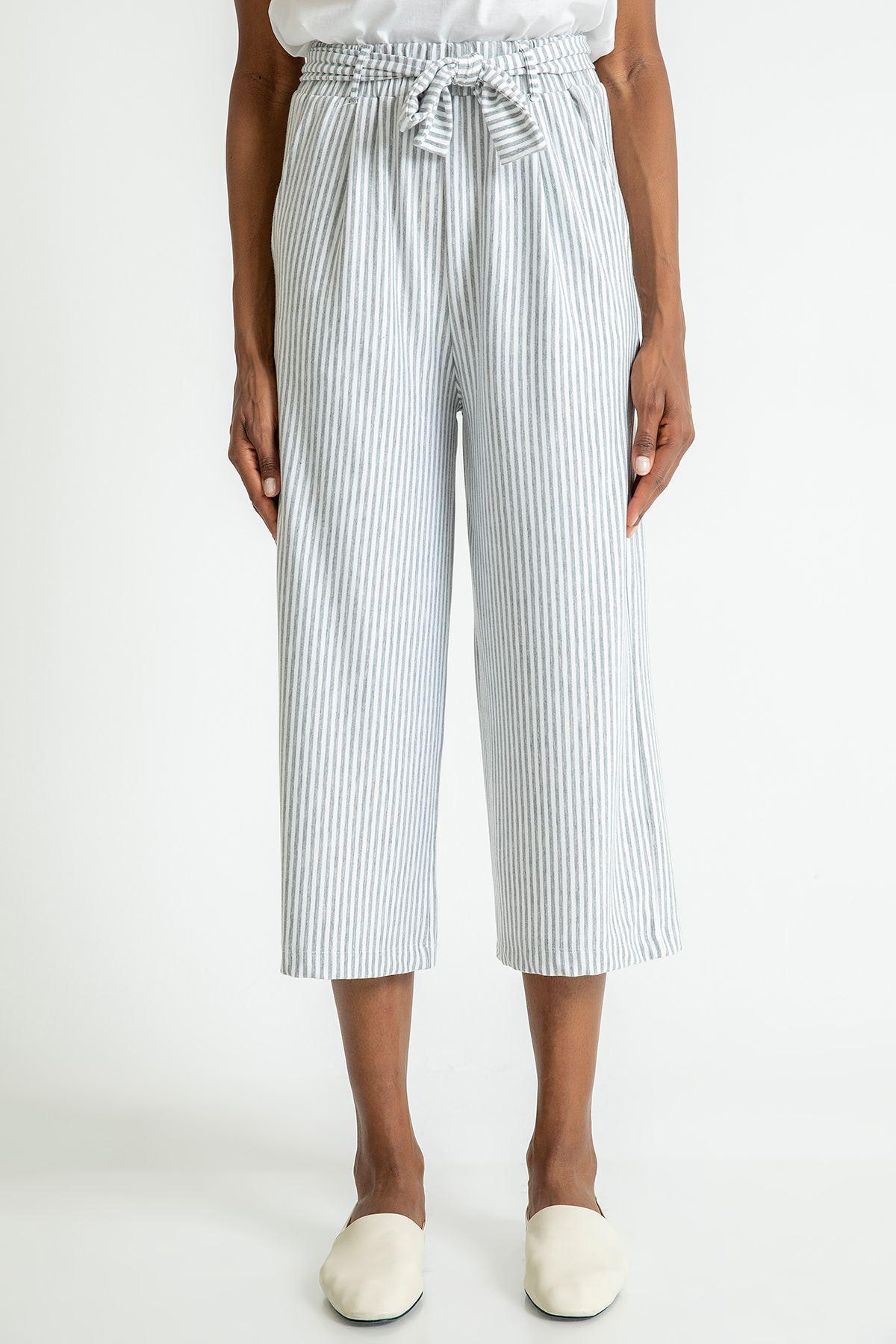 Çizgili Bol Paça Pantolon-Gri