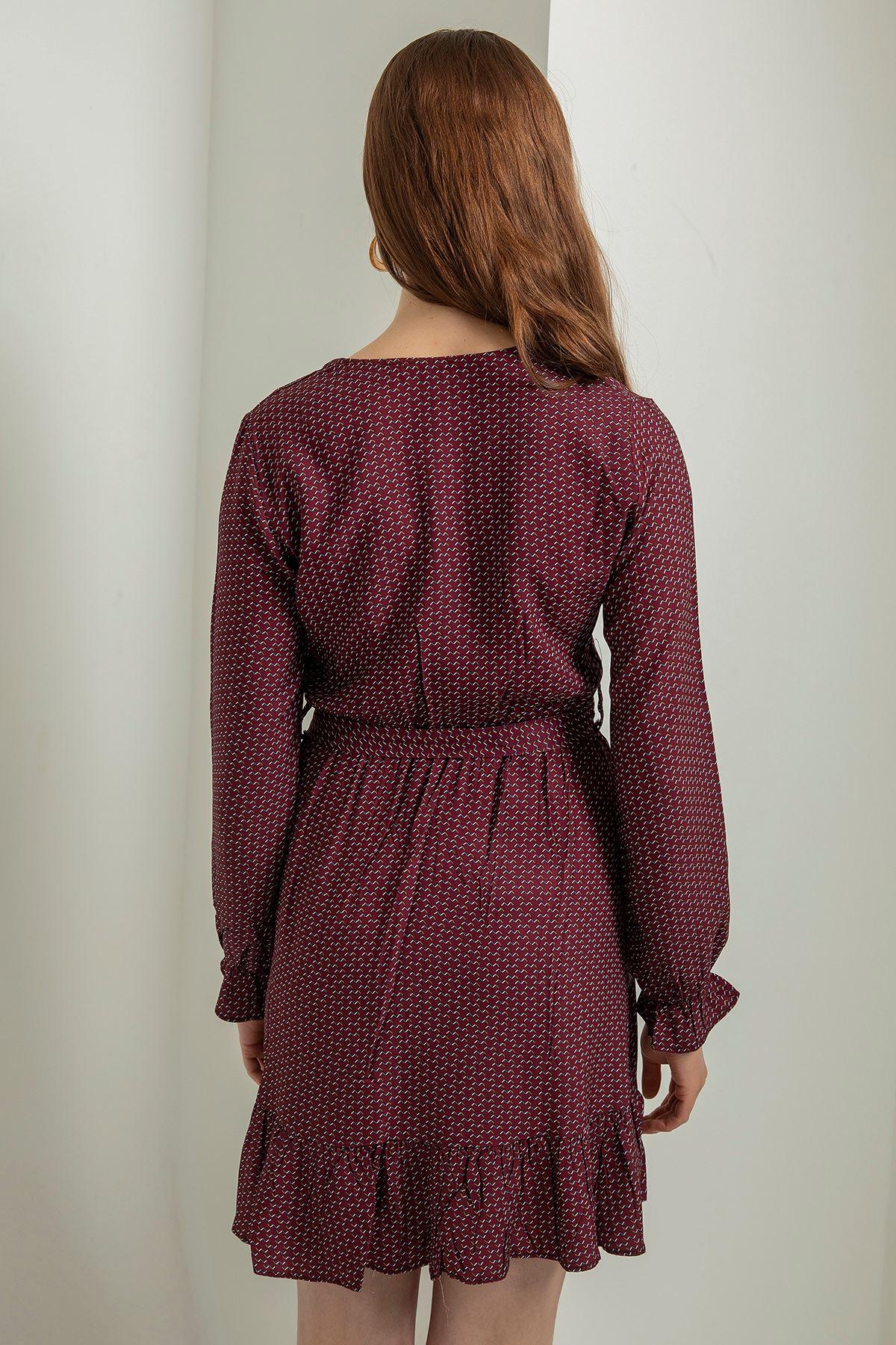 Kruvaze Yaka Kuşaklı Elbise-Bordo