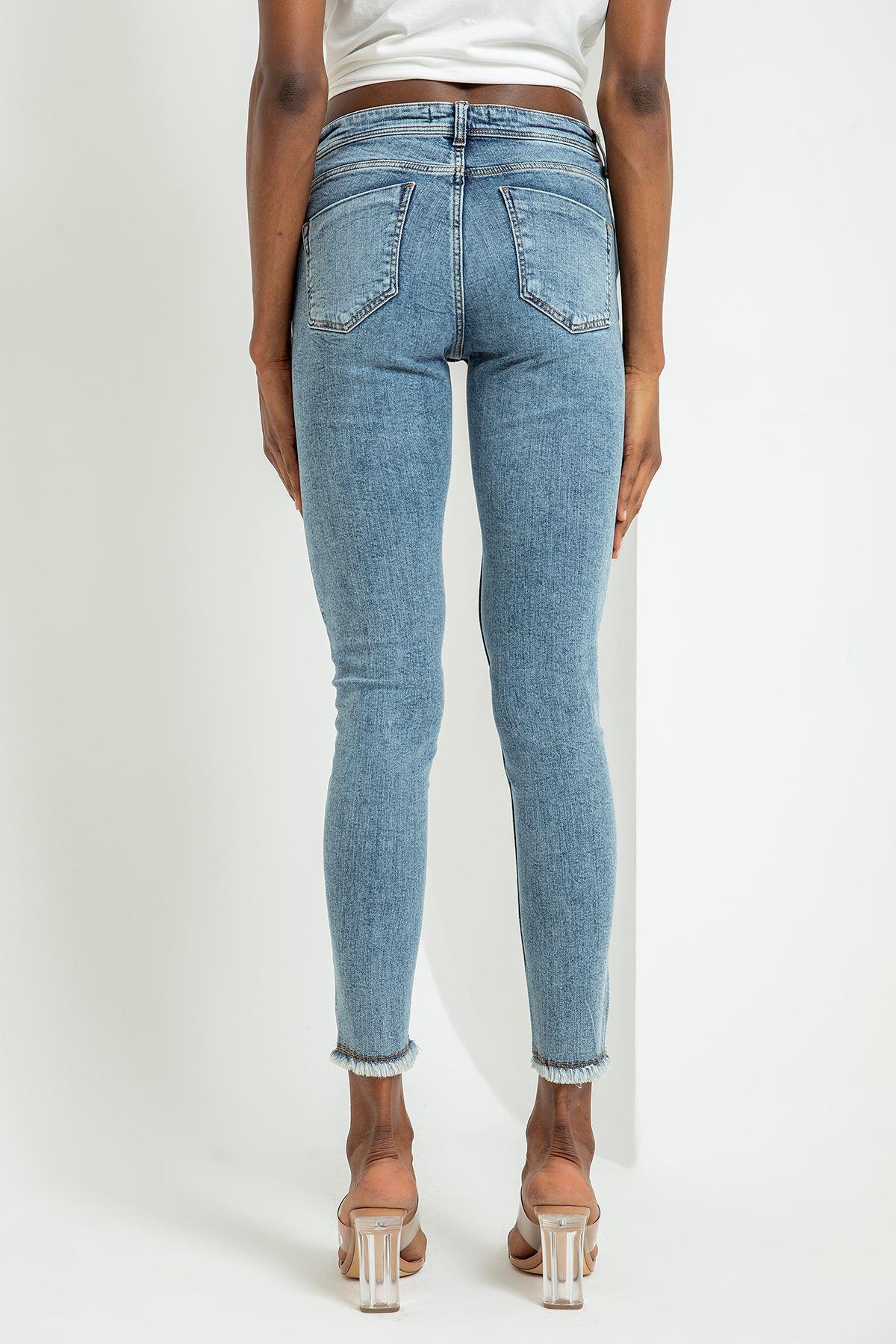 Yırtık Detay Jean Pantolon-Mavi