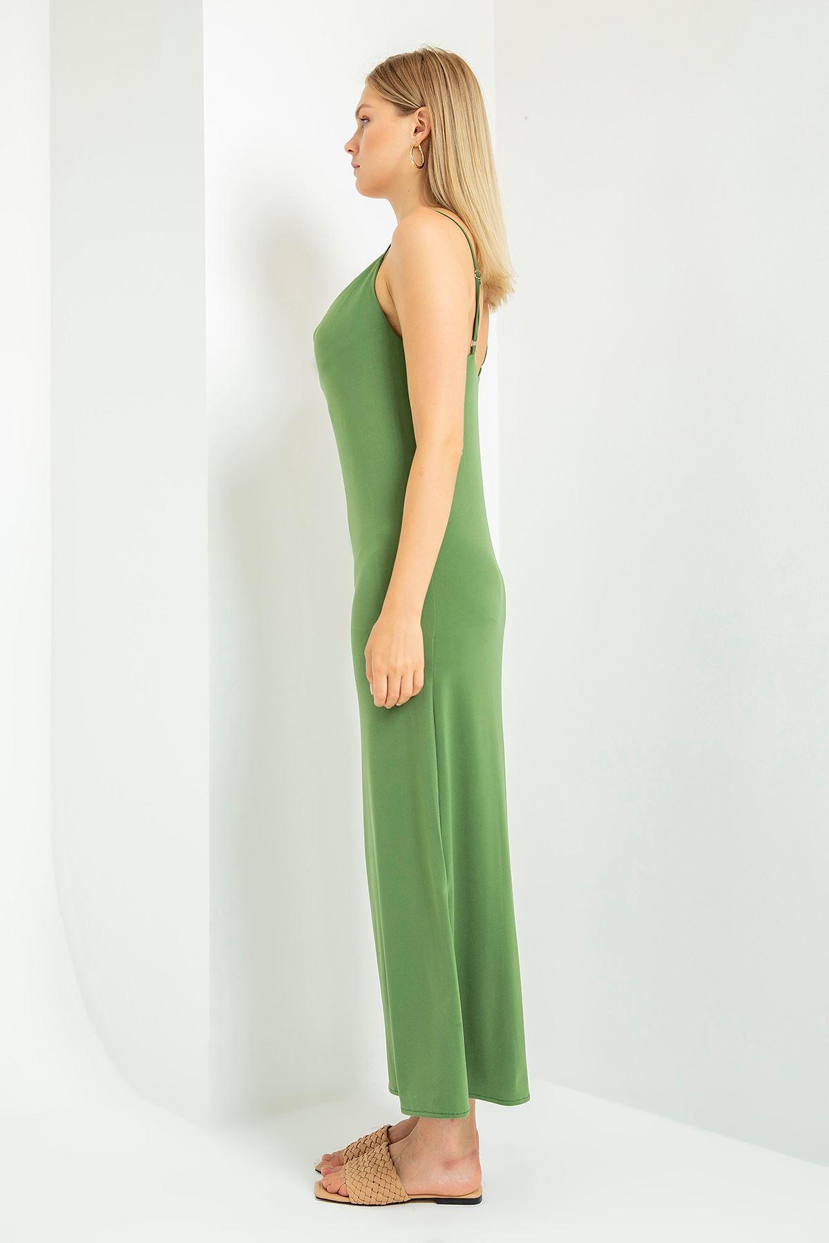 Ön Detay Yırtmaçlı Elbise-Haki