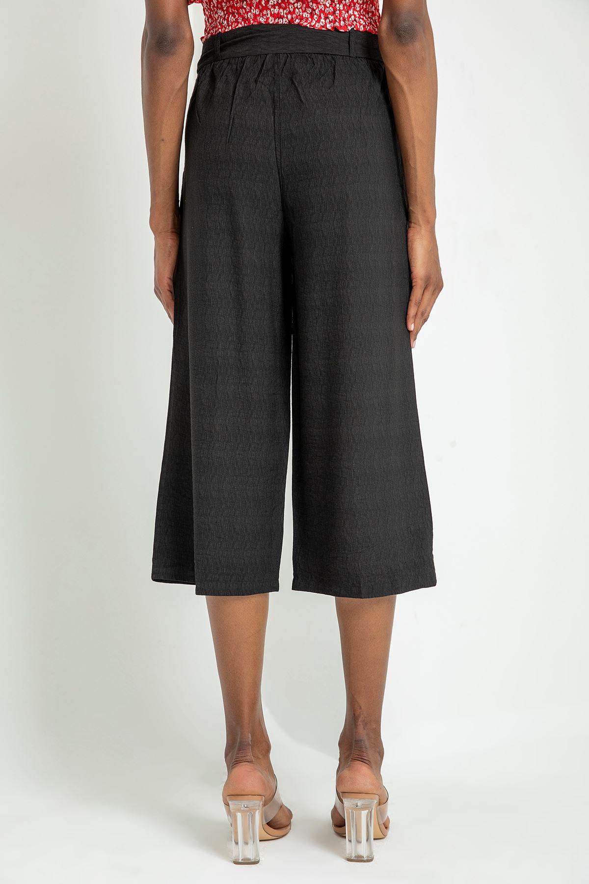 Salaş Kemerli Pantolon-Siyah