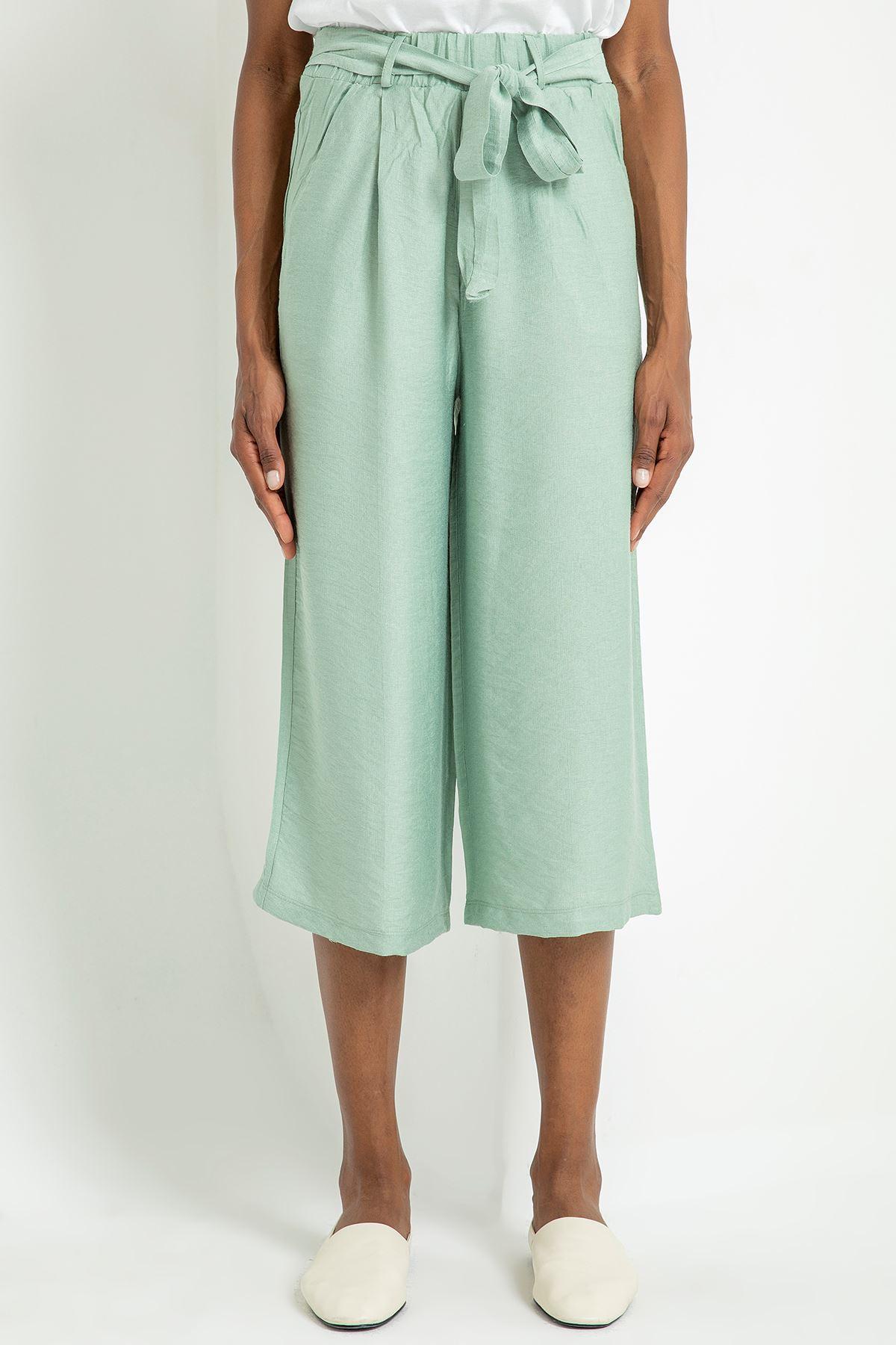 Salaş Kemerli Pantolon-Mint