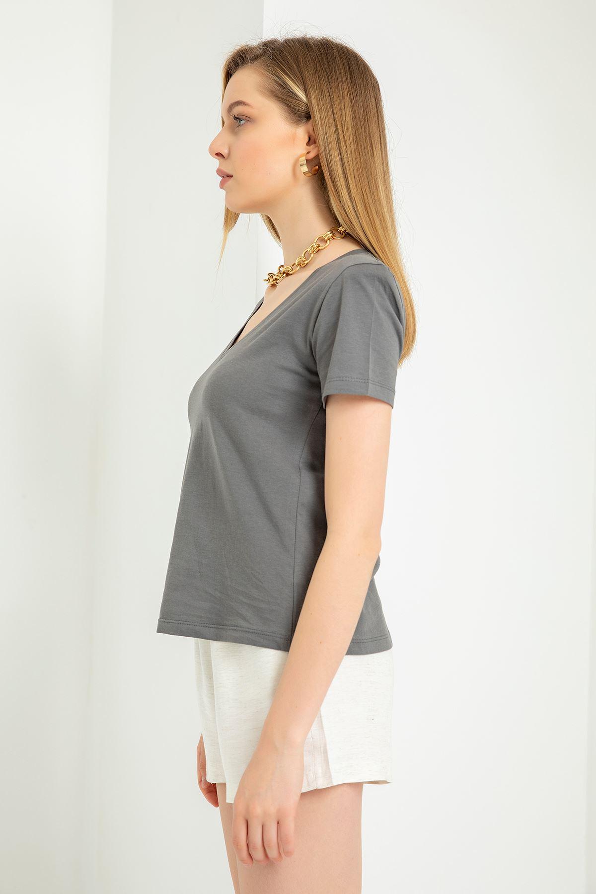 V Yaka Vatkalı T-Shirt-Antrasit