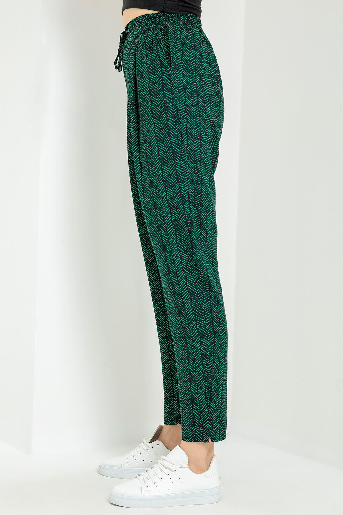 Desenli Beli Lastikli Pantolon-Yeşil