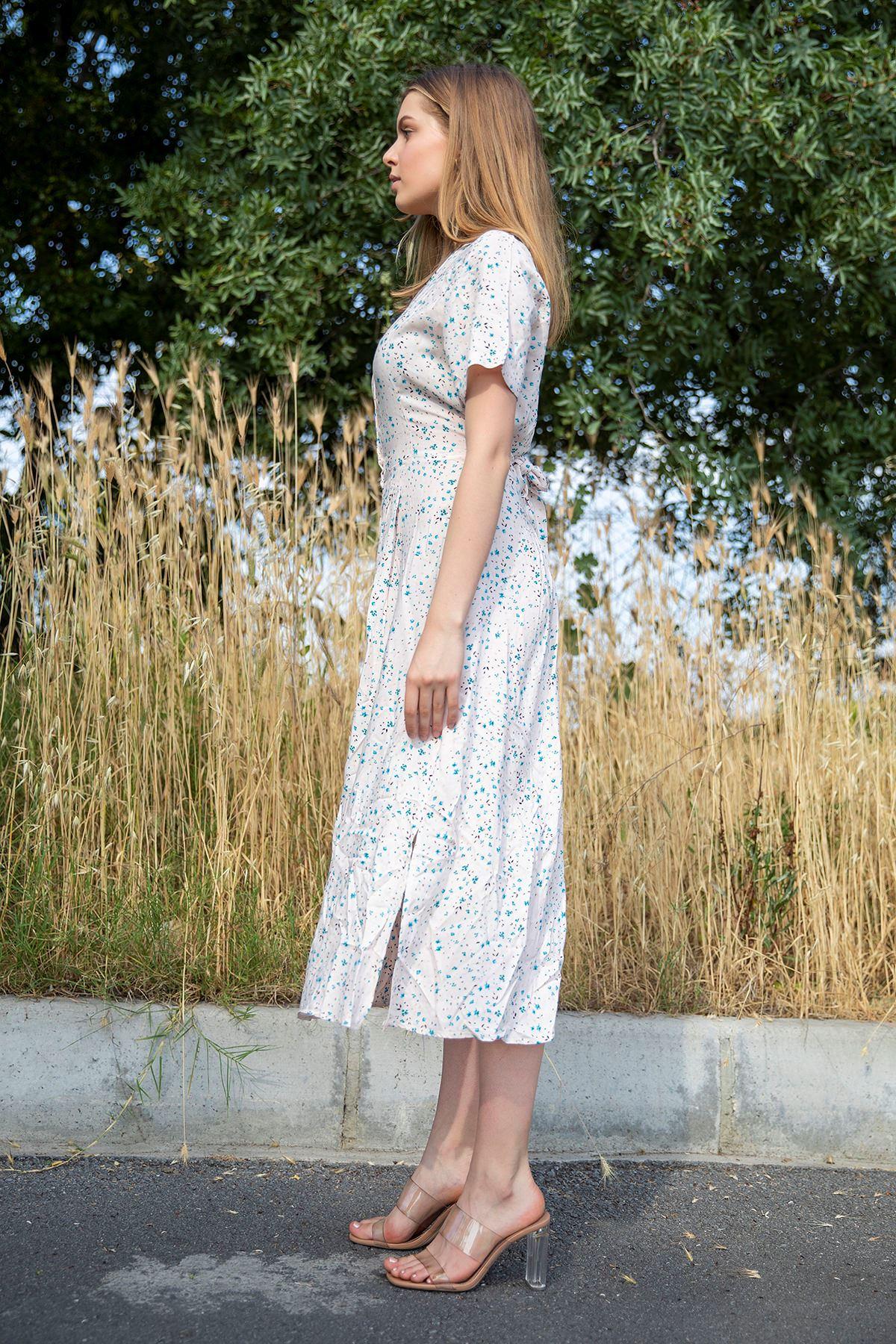 Çıtır Çicek Desen Önü Düğmeli Elbise-TOZ PEMBE