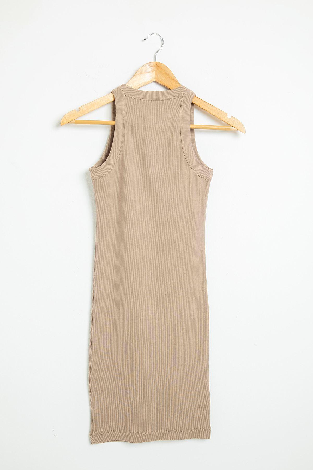 Askılı Kaşkorse Elbise-Vizon
