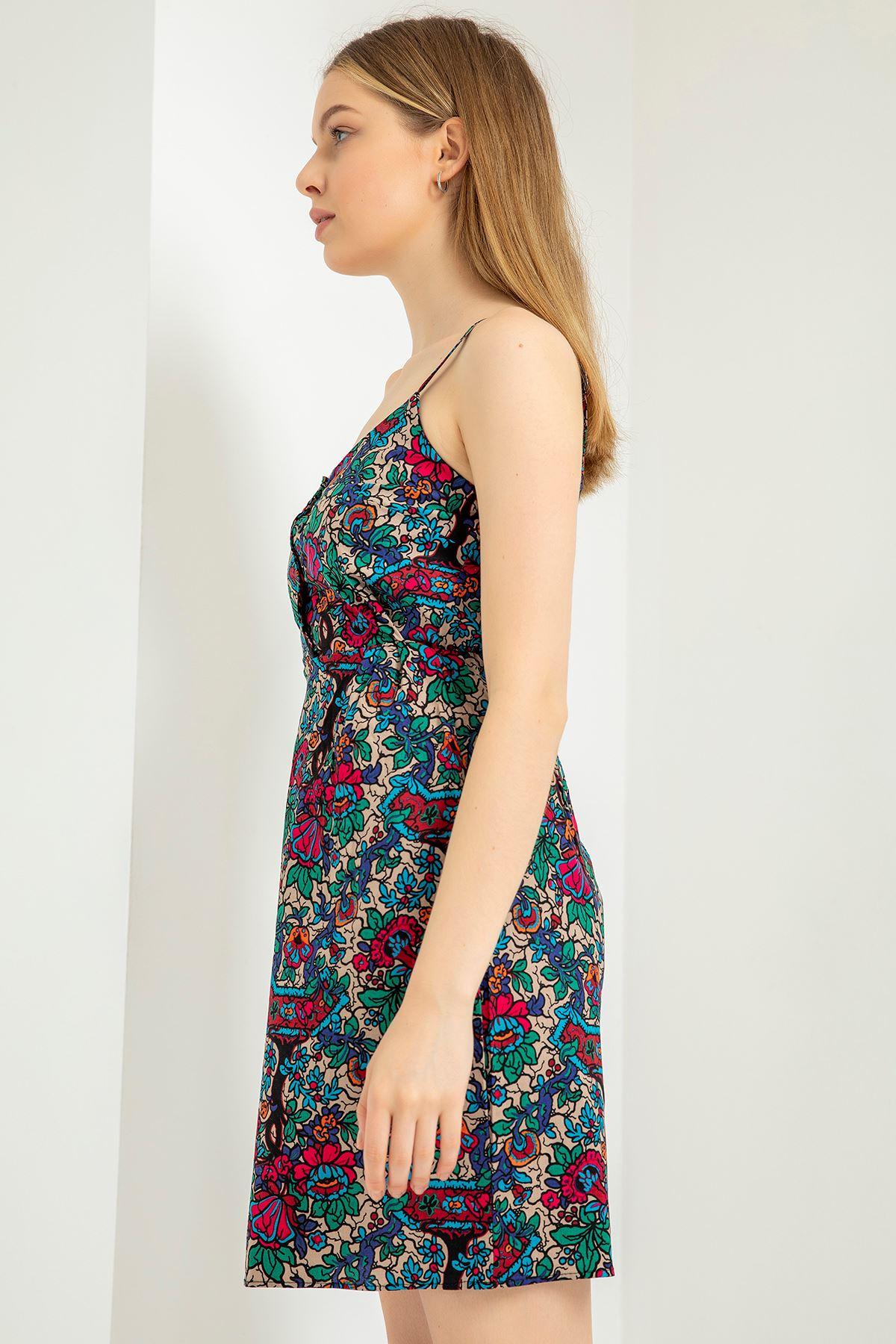 Çicek Desen Askılı Düğmeli Elbise-Haki