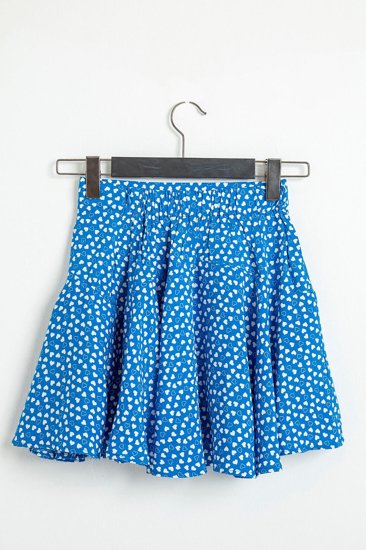 Kalp Desen Mini Etek-Mavi