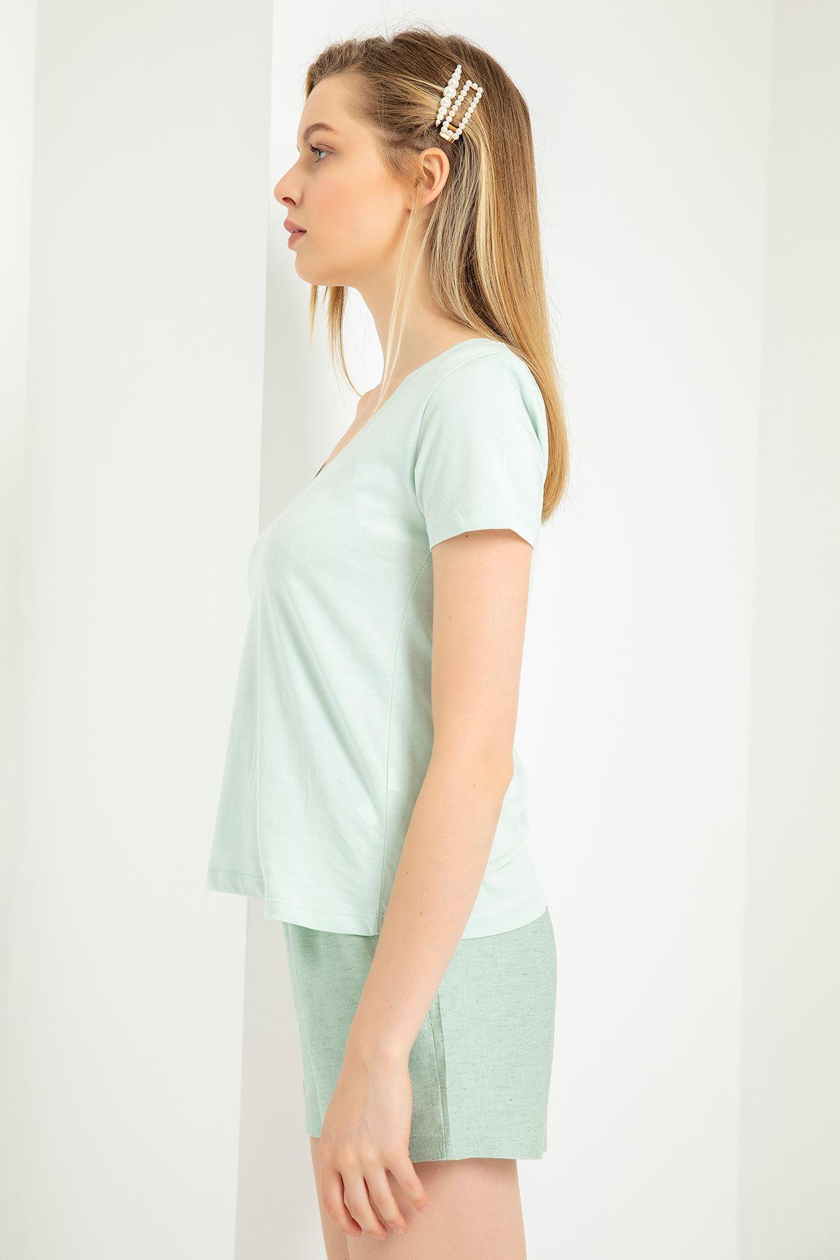 V Yaka Vatkalı T-Shirt-Mint