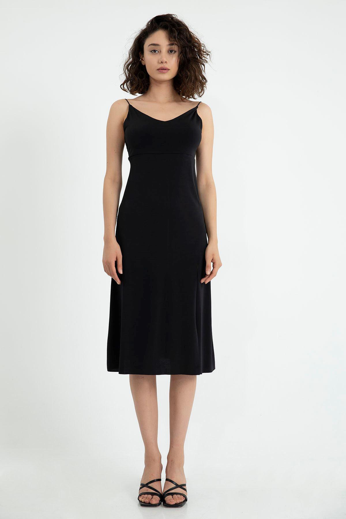 İpli Sırt Detay Elbise-Siyah