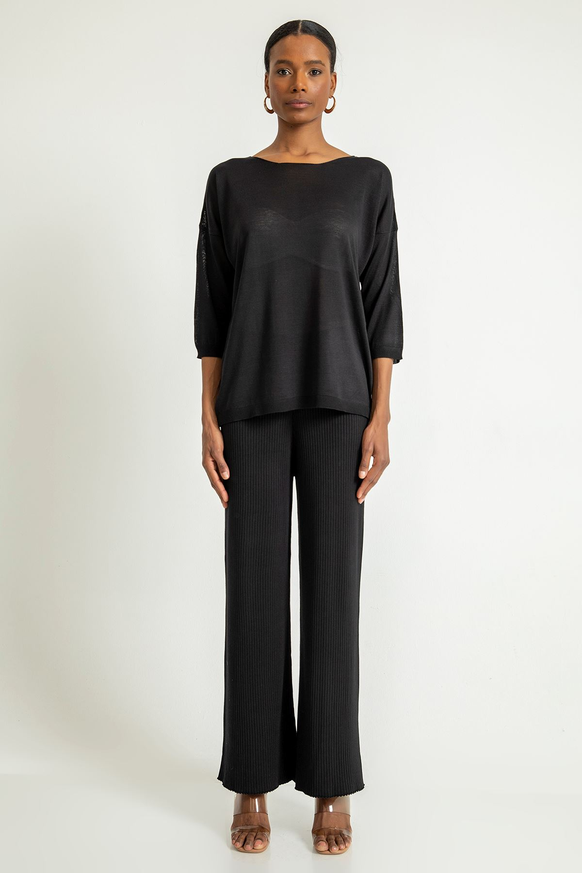 Piliseli Pantolon Takım-Siyah
