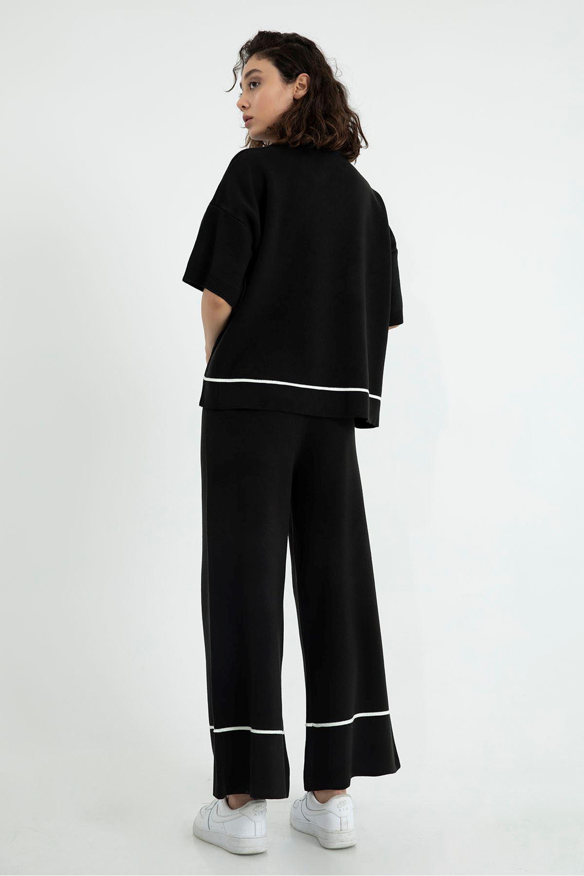Çizgi Detay Salaş Triko Takım-Siyah