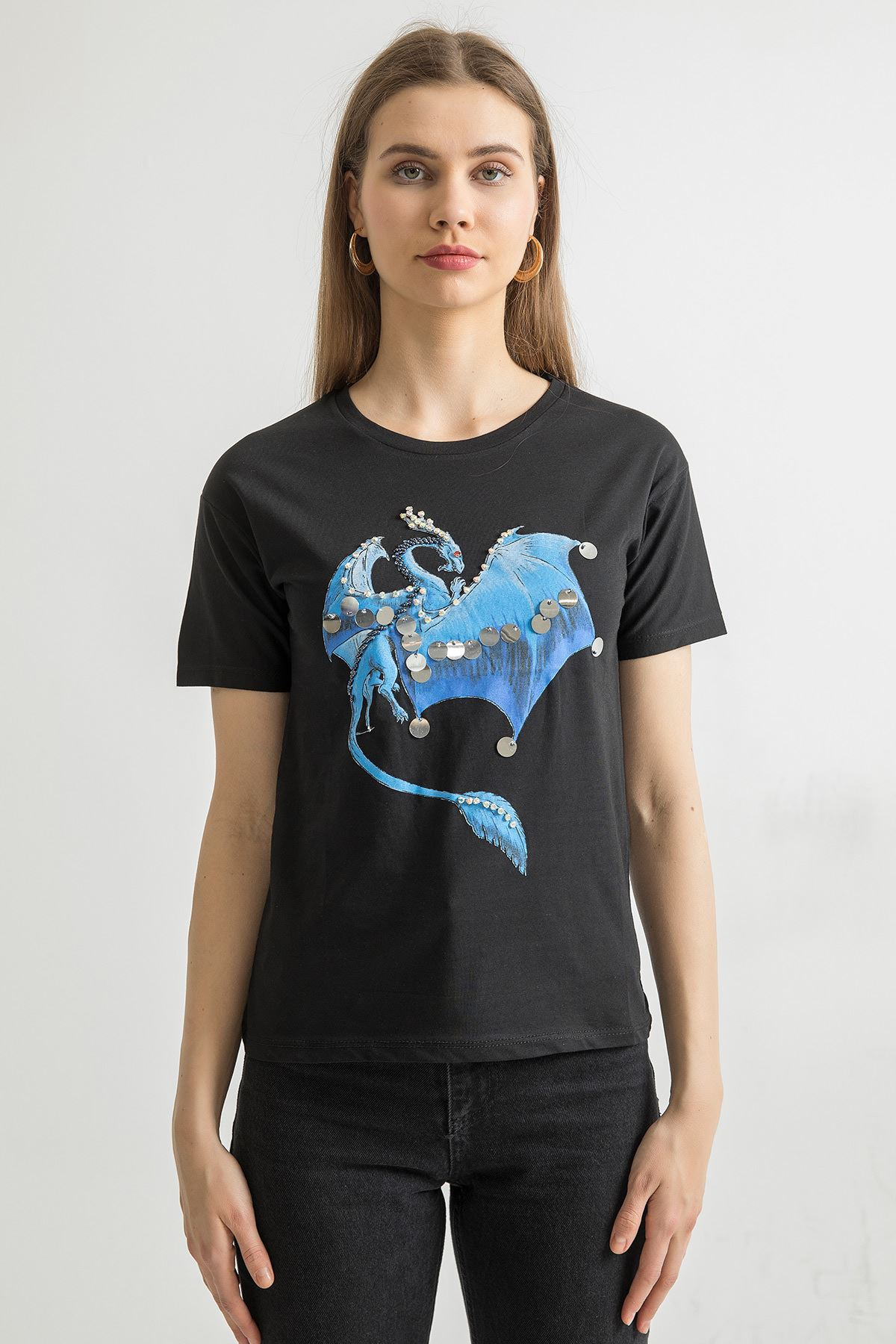 Ejderha Baskılı T-shirt-Siyah