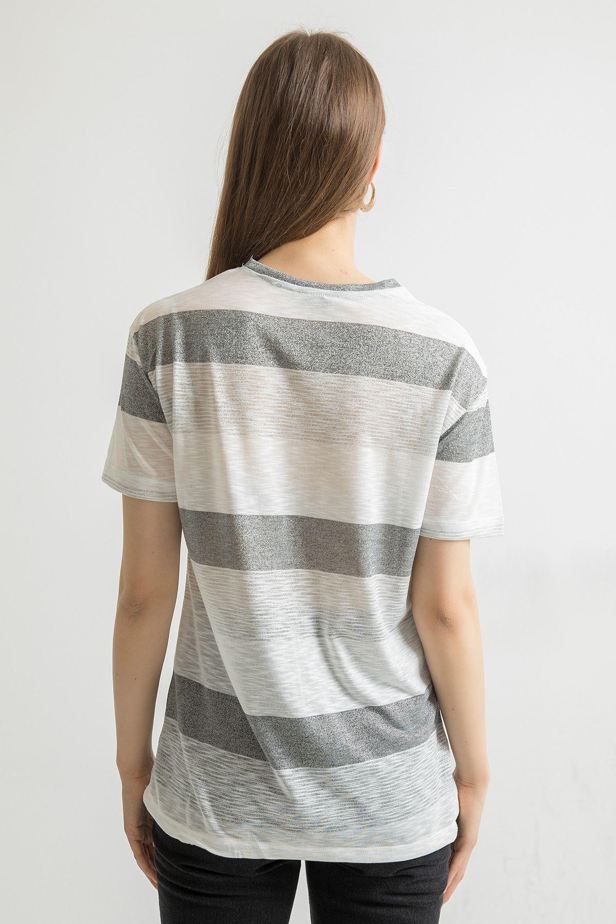 Stay Baskılıi T-shirt-Gri